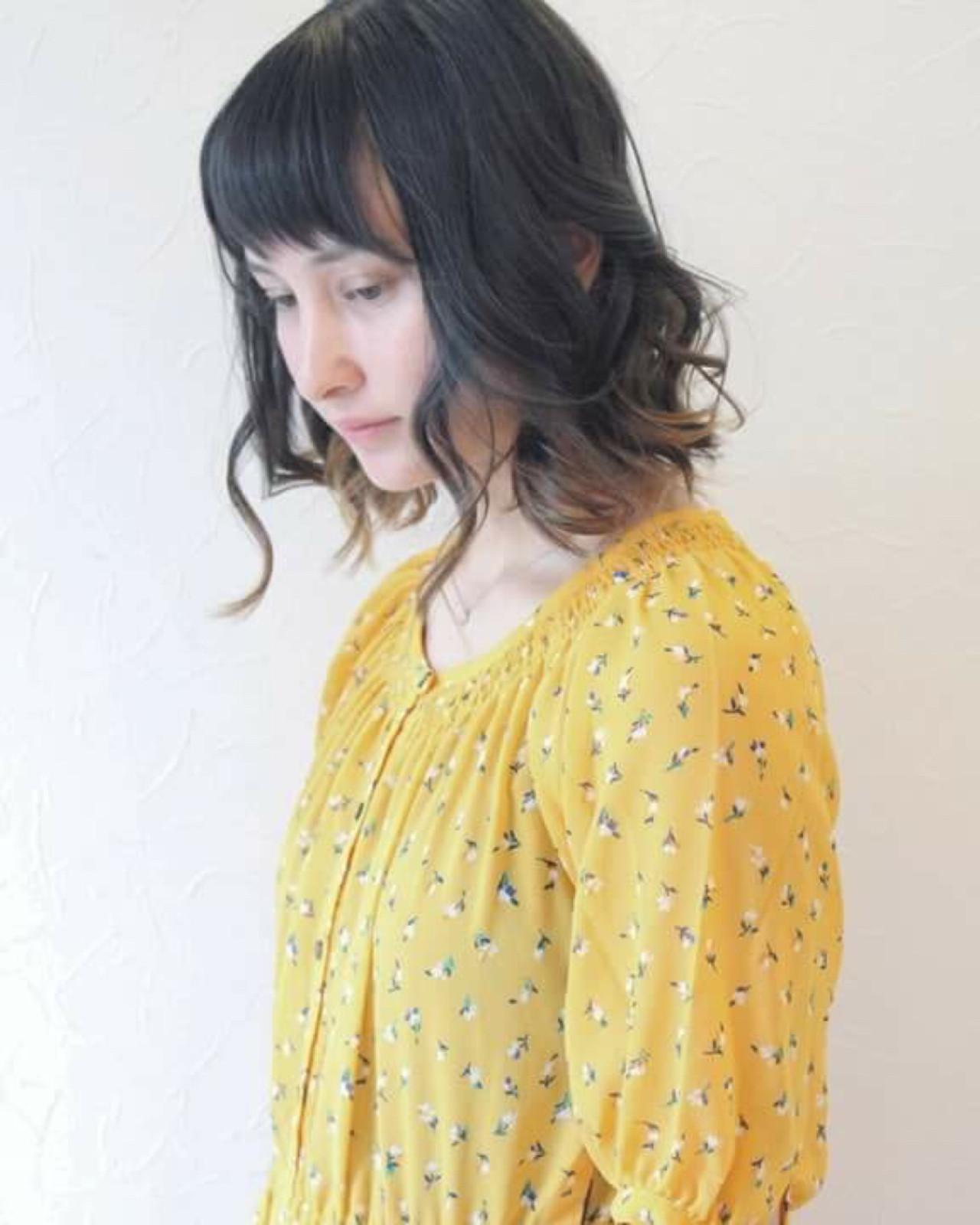 インナーカラー 切りっぱなし ハイトーン グラデーションカラー ヘアスタイルや髪型の写真・画像 | Ryo isijima / atelier lurtta