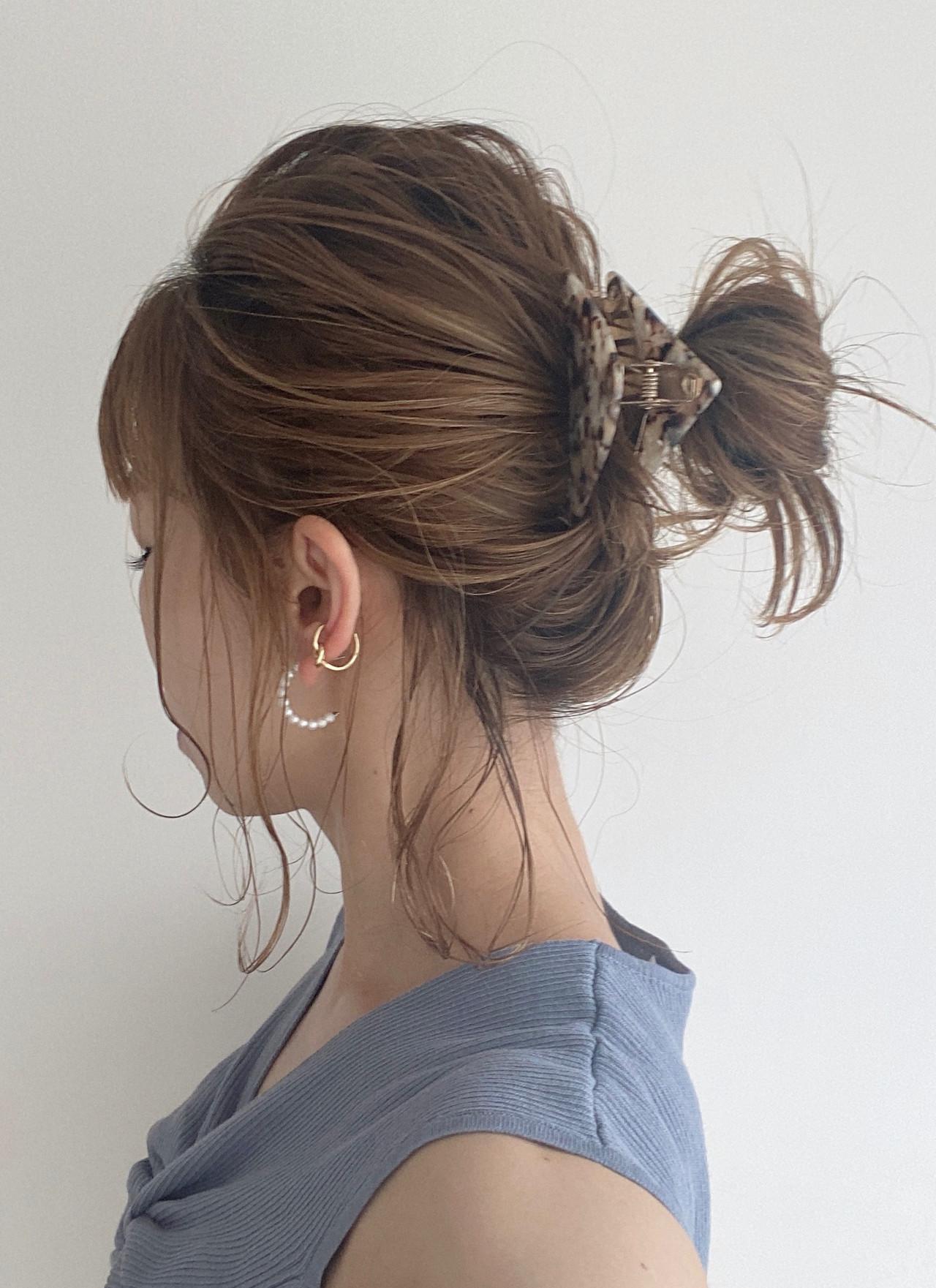 ミディアム 簡単ヘアアレンジ セルフヘアアレンジ おだんご ヘアスタイルや髪型の写真・画像