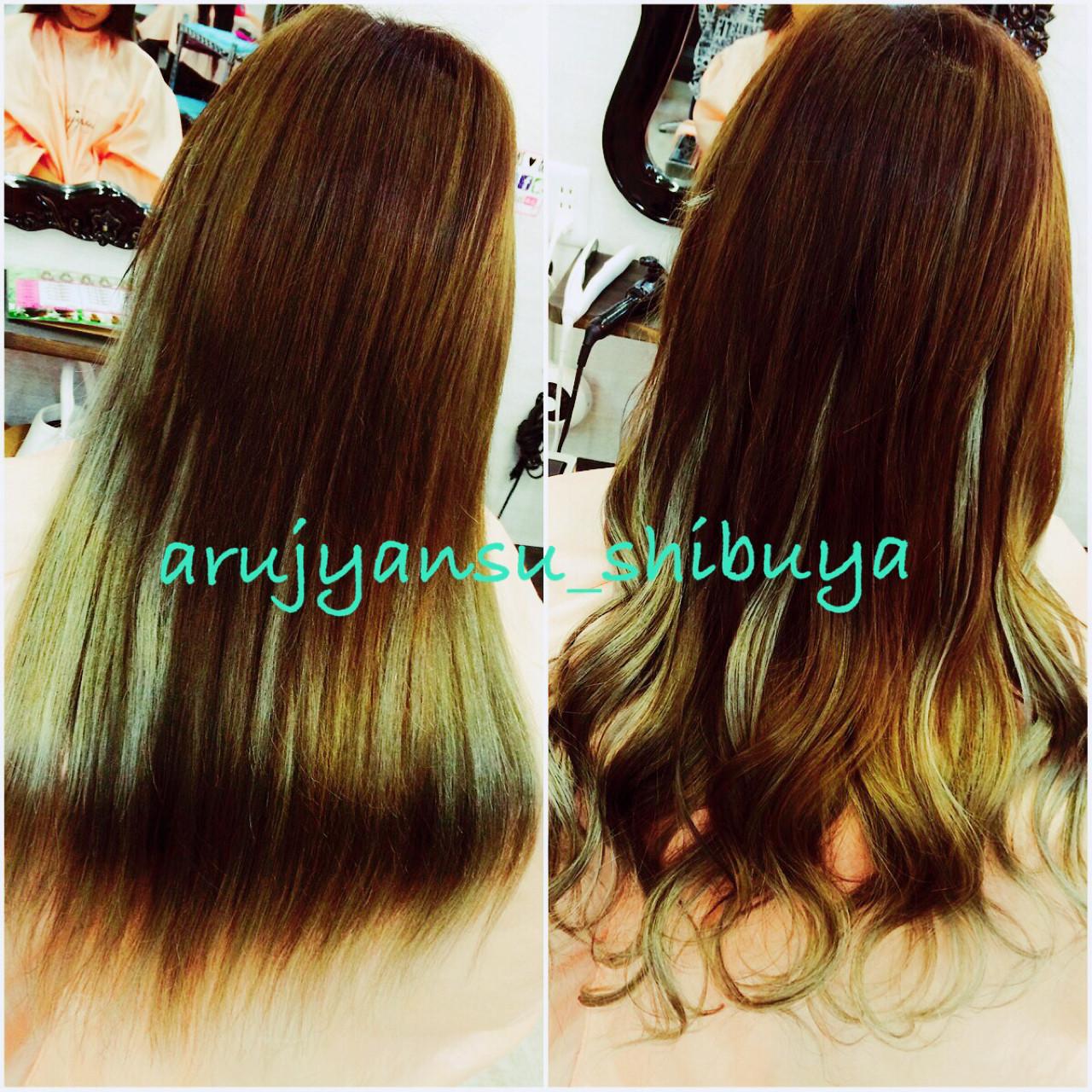 グラデーションカラー 渋谷系 アッシュ エクステヘアスタイルや髪型の写真・画像