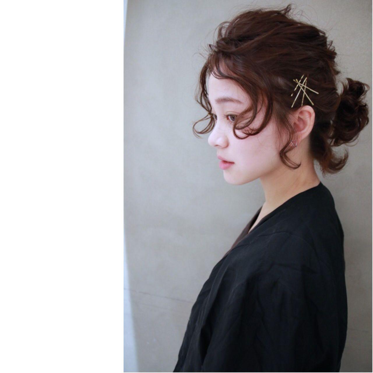 ヘアアレンジ ボブ ナチュラル ウェーブヘアスタイルや髪型の写真・画像
