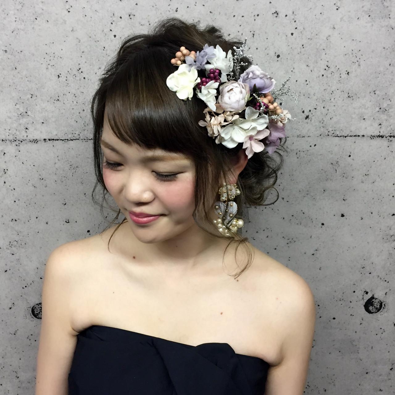 アップスタイル フェミニン ミディアム ヘアアレンジ ヘアスタイルや髪型の写真・画像 | 横川 美穂 / G-GIRL