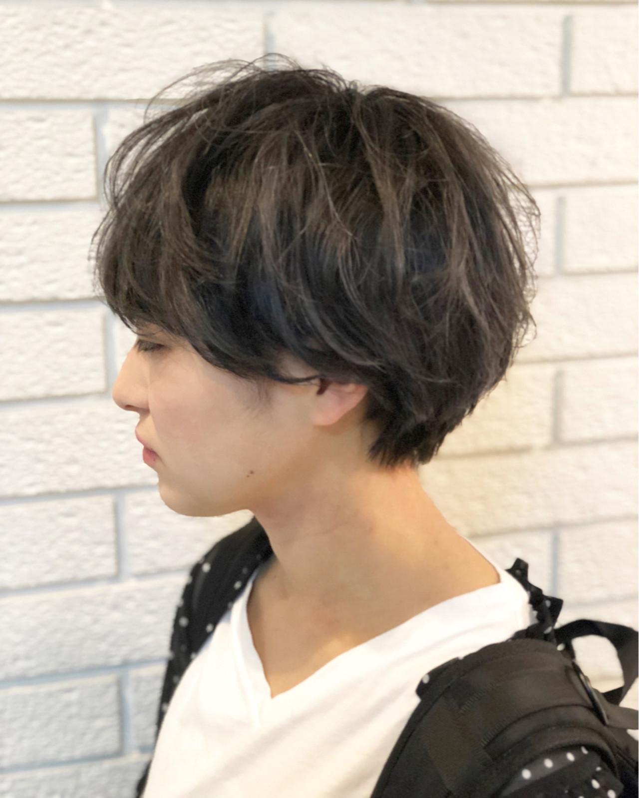 暗髪 ショート アッシュ アッシュグレー ヘアスタイルや髪型の写真・画像 | HASE / savon hair design casa+