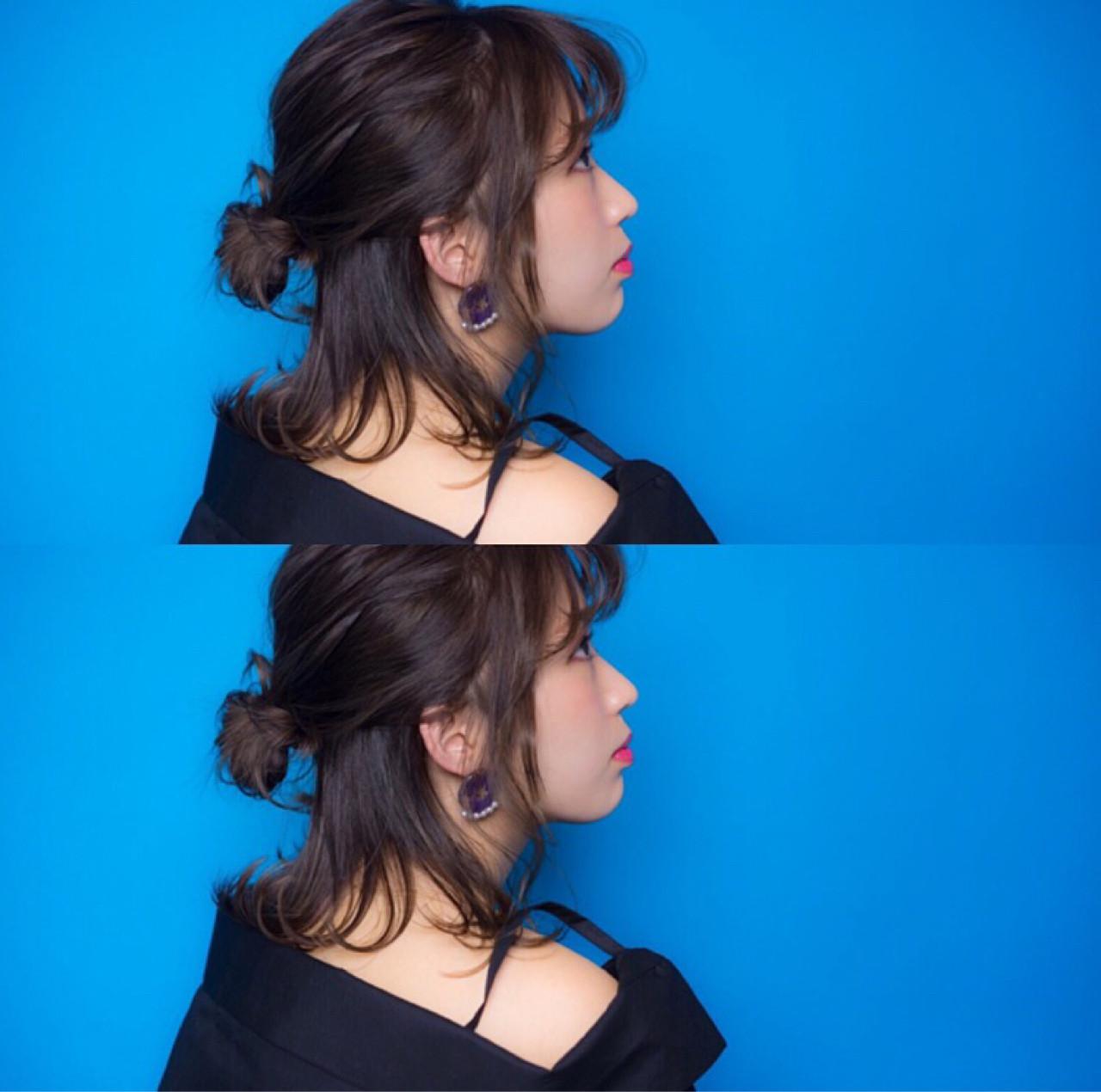 イルミナカラー ハーフアップ ボブ フェミニンヘアスタイルや髪型の写真・画像