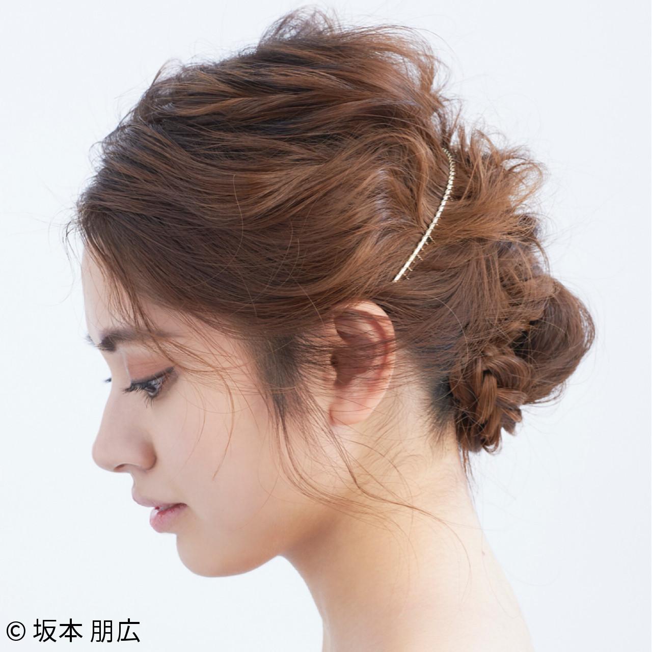 シニヨン エレガント ヘアアレンジ 上品ヘアスタイルや髪型の写真・画像