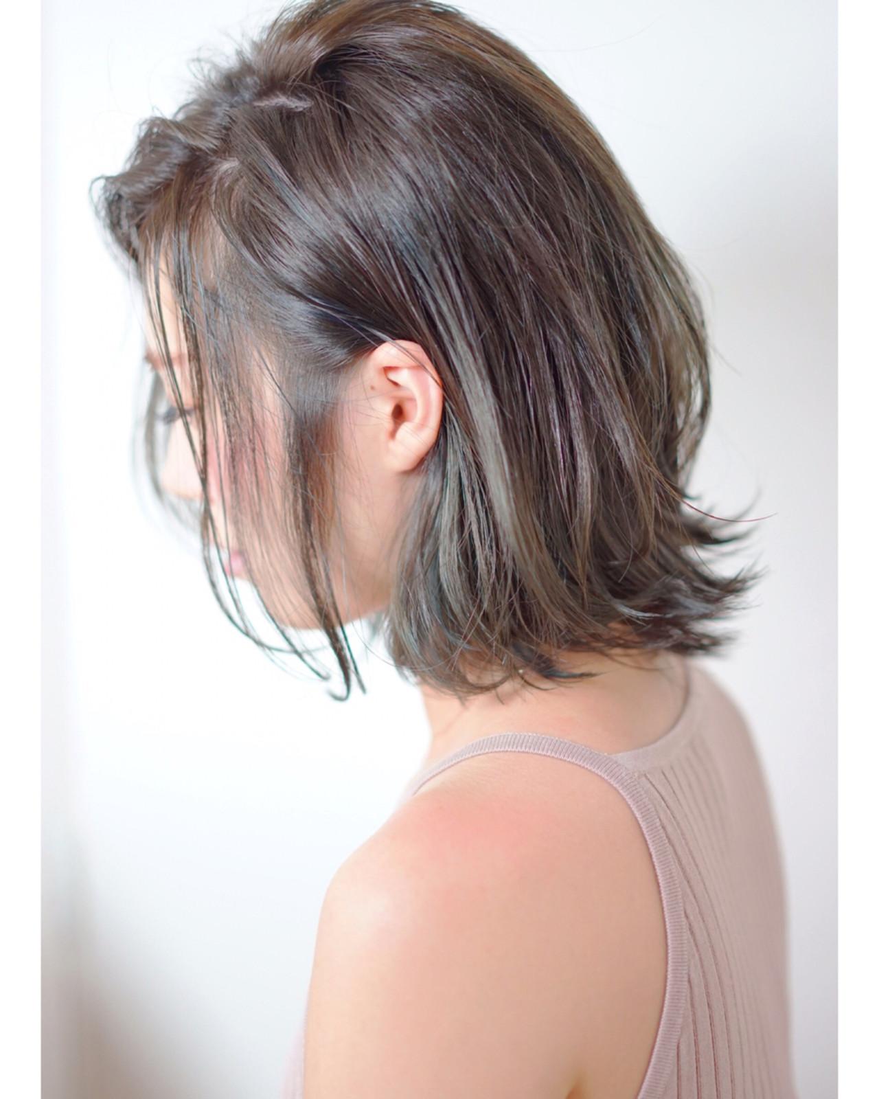 ボブ 暗髪 外ハネ 耳かけ ヘアスタイルや髪型の写真・画像   渡辺拓吏【NUM】 / hair salon NUM