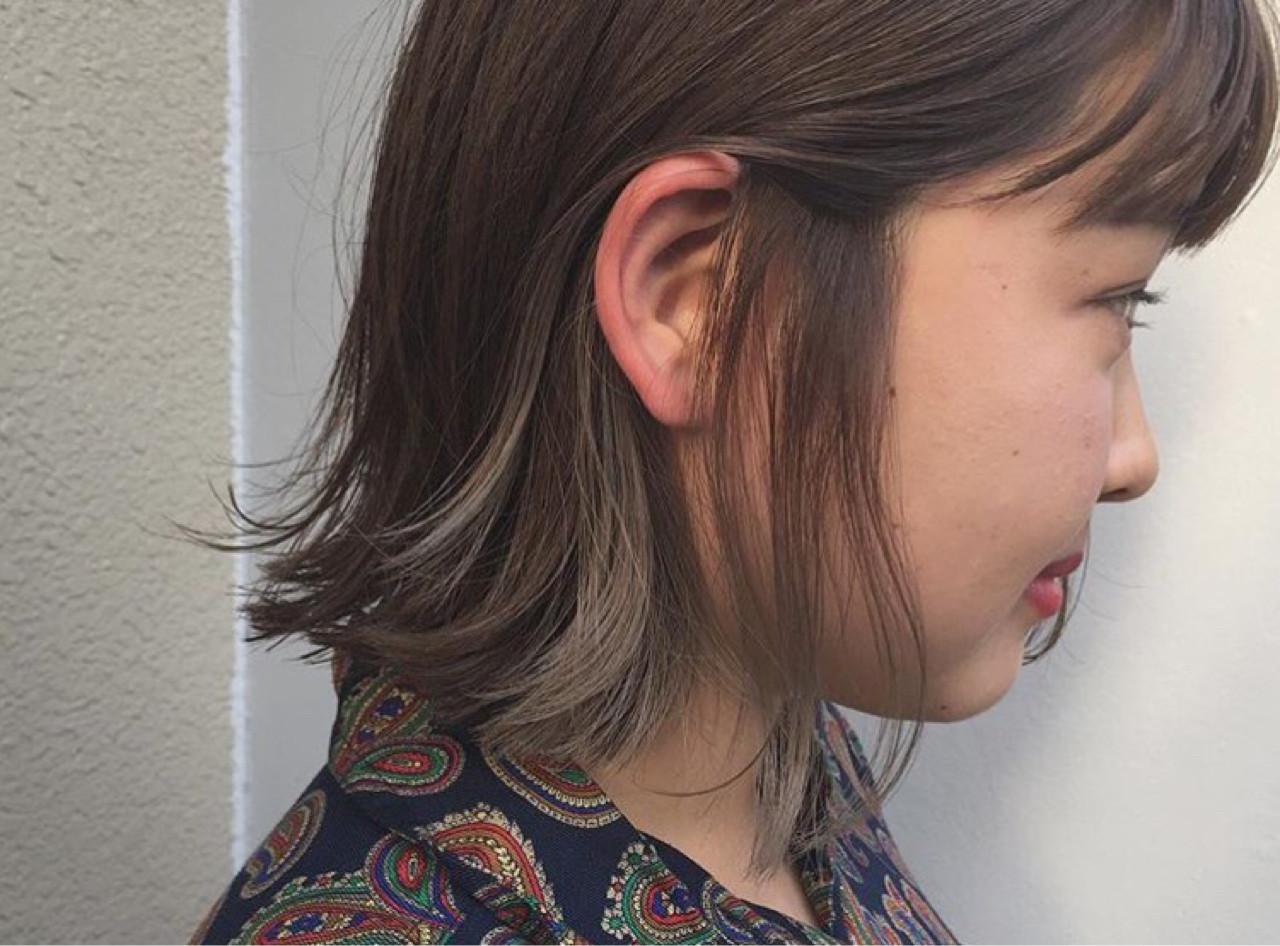 外ハネ ハイライト 黒髪 ナチュラル ヘアスタイルや髪型の写真・画像 | KENTO.NOESALON / NOE SALON
