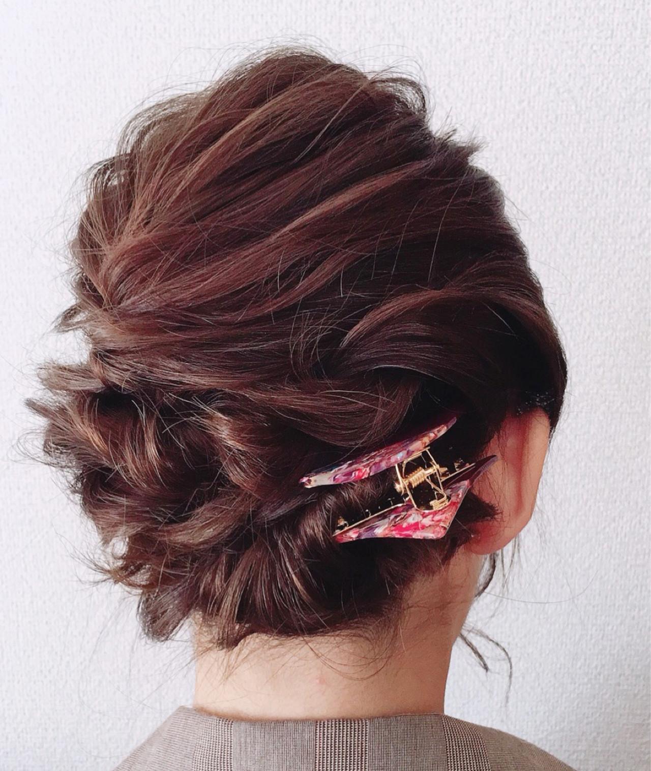 謝恩会 結婚式 フェミニン 簡単ヘアアレンジヘアスタイルや髪型の写真・画像