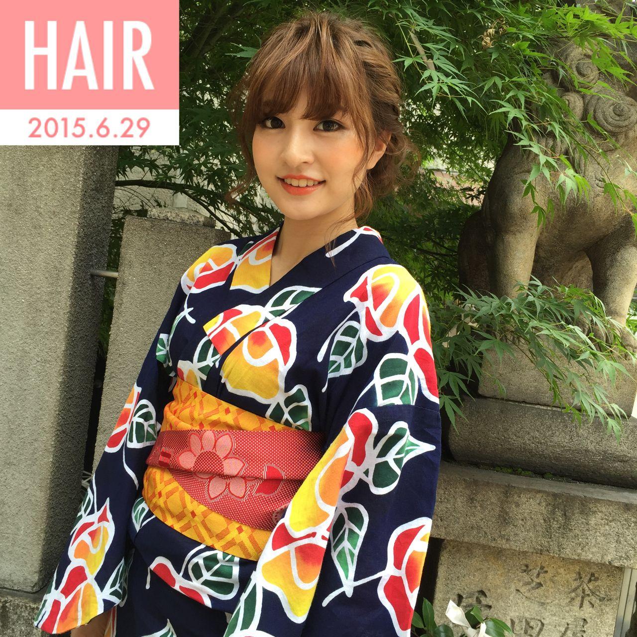モテ髪 オレンジ 夏 愛されヘアスタイルや髪型の写真・画像