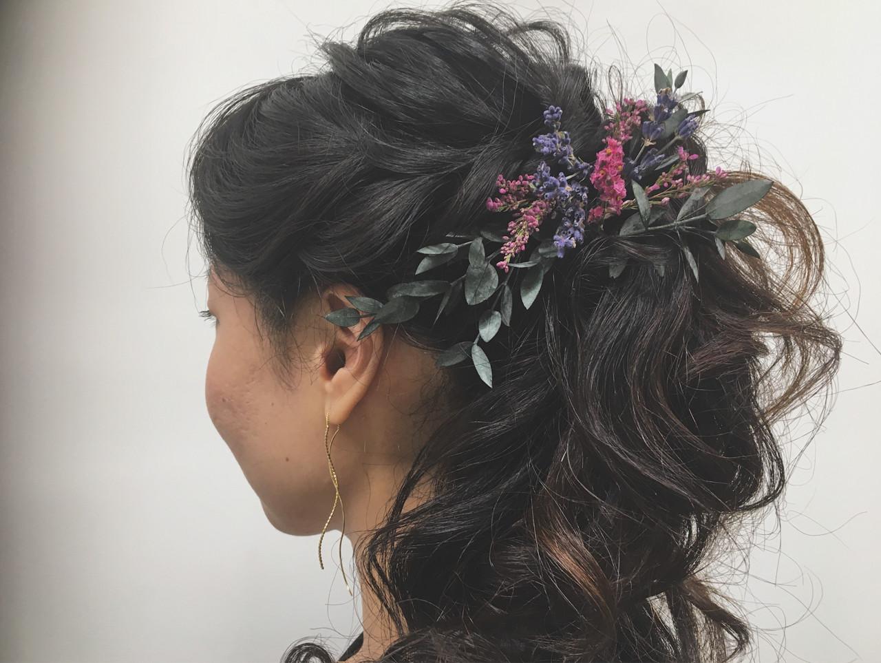 パーティ ヘアアレンジ エレガント 黒髪 ヘアスタイルや髪型の写真・画像 | minami.o / CERISIER7