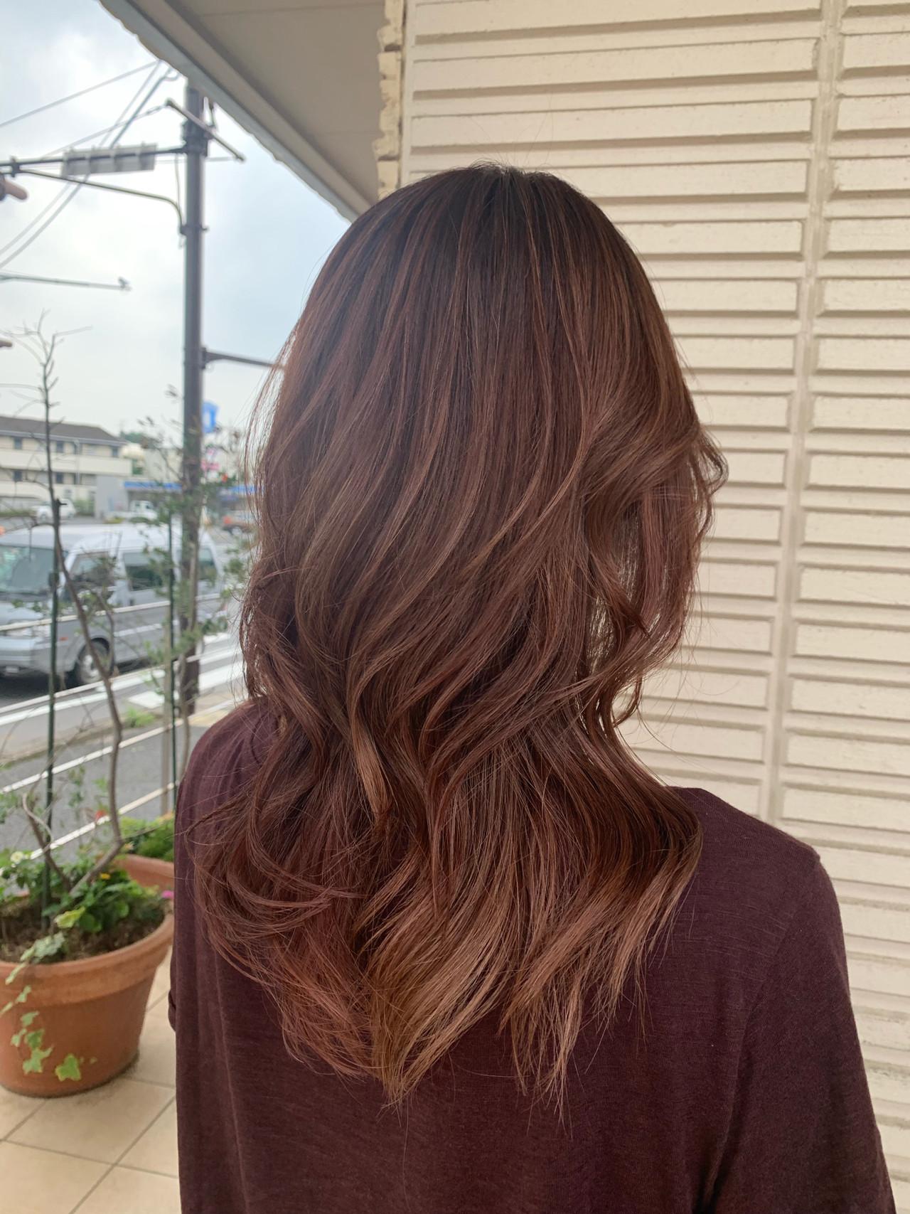 ロング ピンクブラウン ハイライト フェミニン ヘアスタイルや髪型の写真・画像 | 大越 勇嗣 / VISAGE Oak