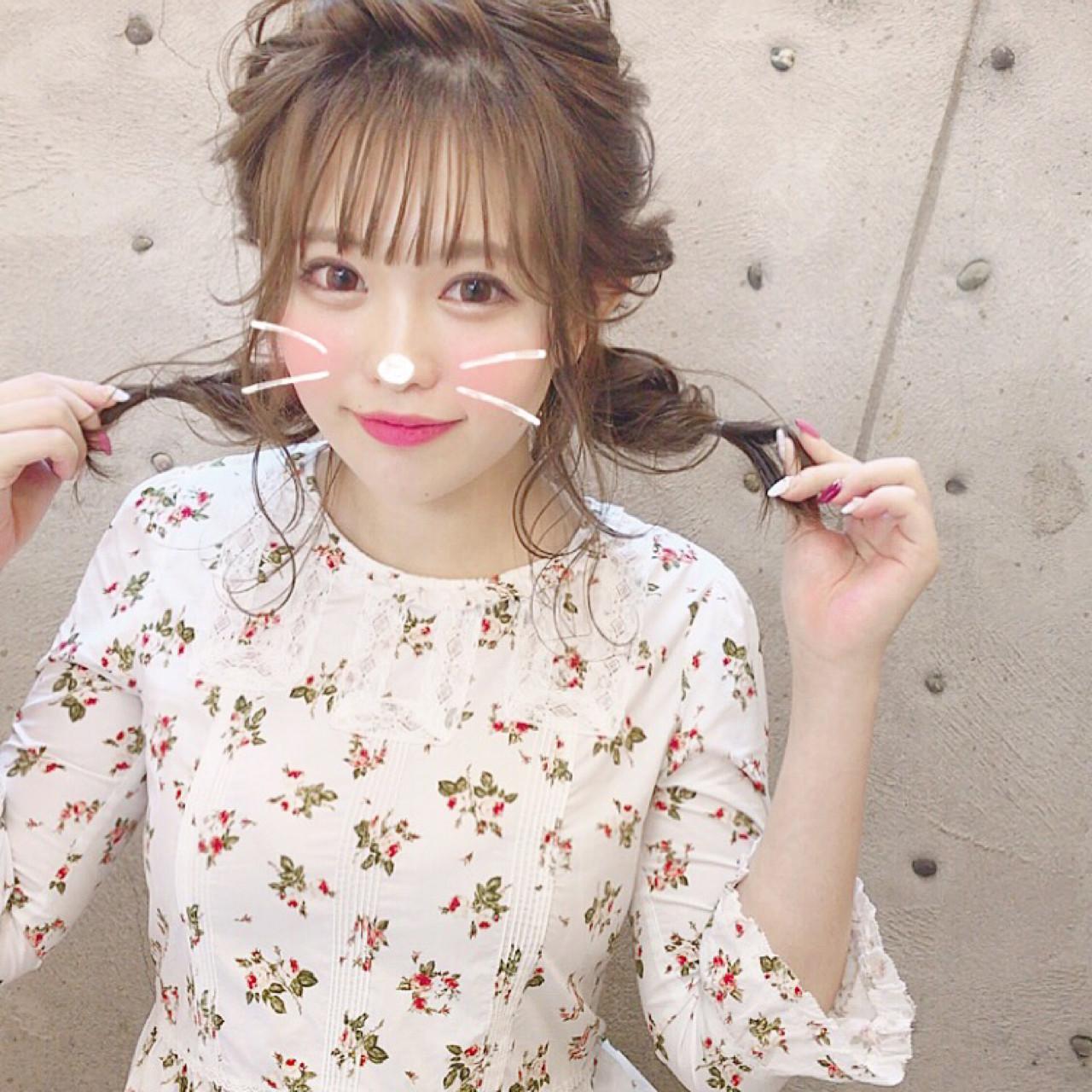 シースルーバング ヘアアレンジ ガーリー 簡単ヘアアレンジ ヘアスタイルや髪型の写真・画像 | Wataru Maeda / cache cache