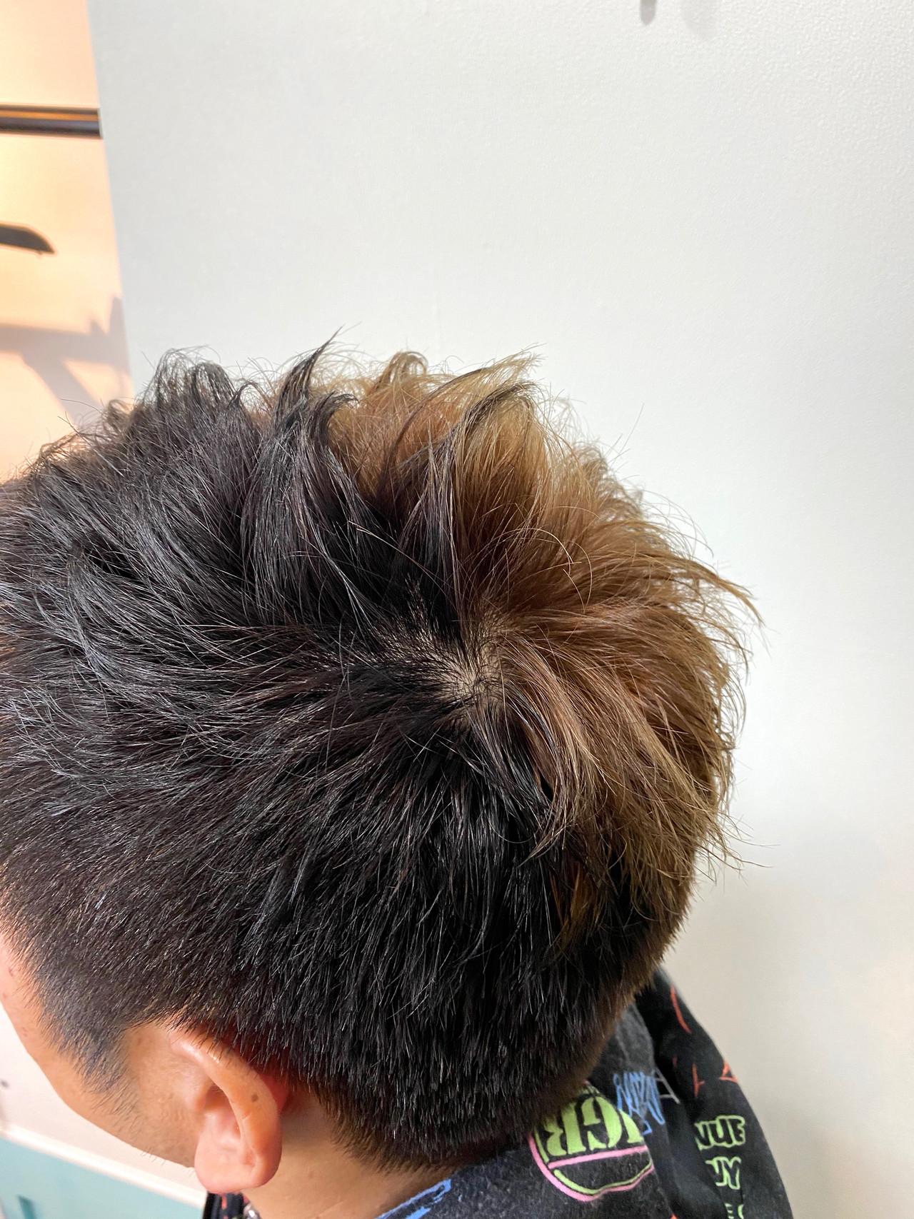 アッシュ ストリート デザインカラー ショートヘアスタイルや髪型の写真・画像
