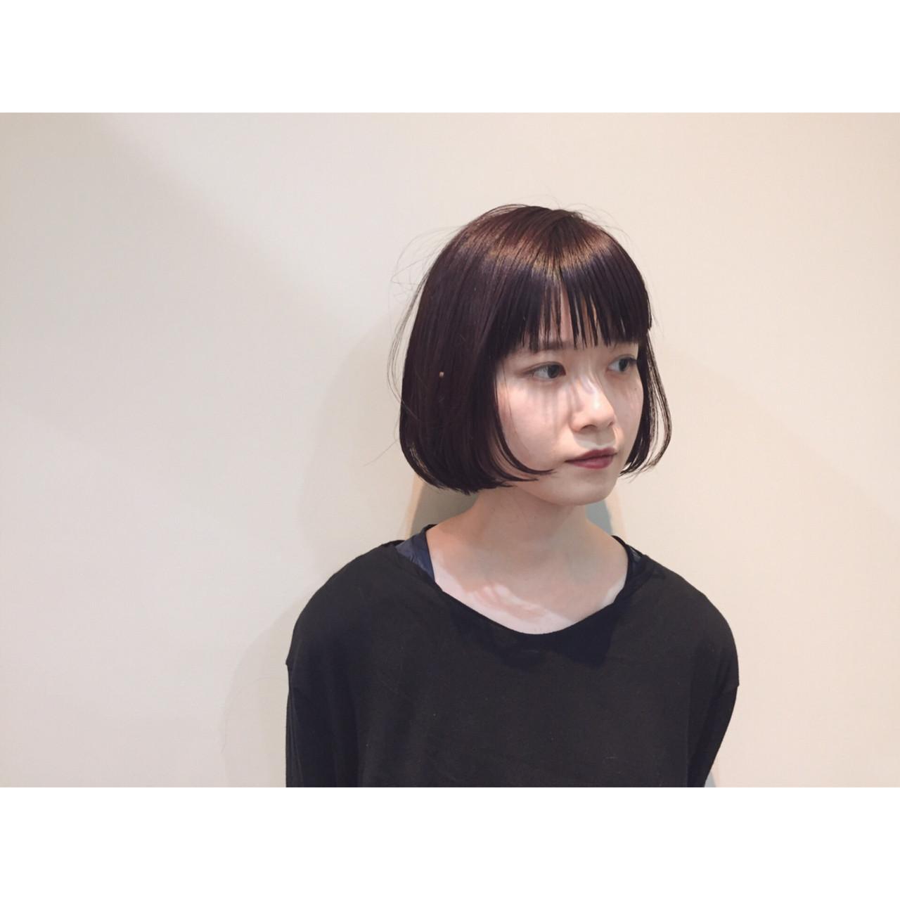 小顔 ボブ ニュアンス ナチュラル ヘアスタイルや髪型の写真・画像 | 大西 絢子/HOULe / HOULe