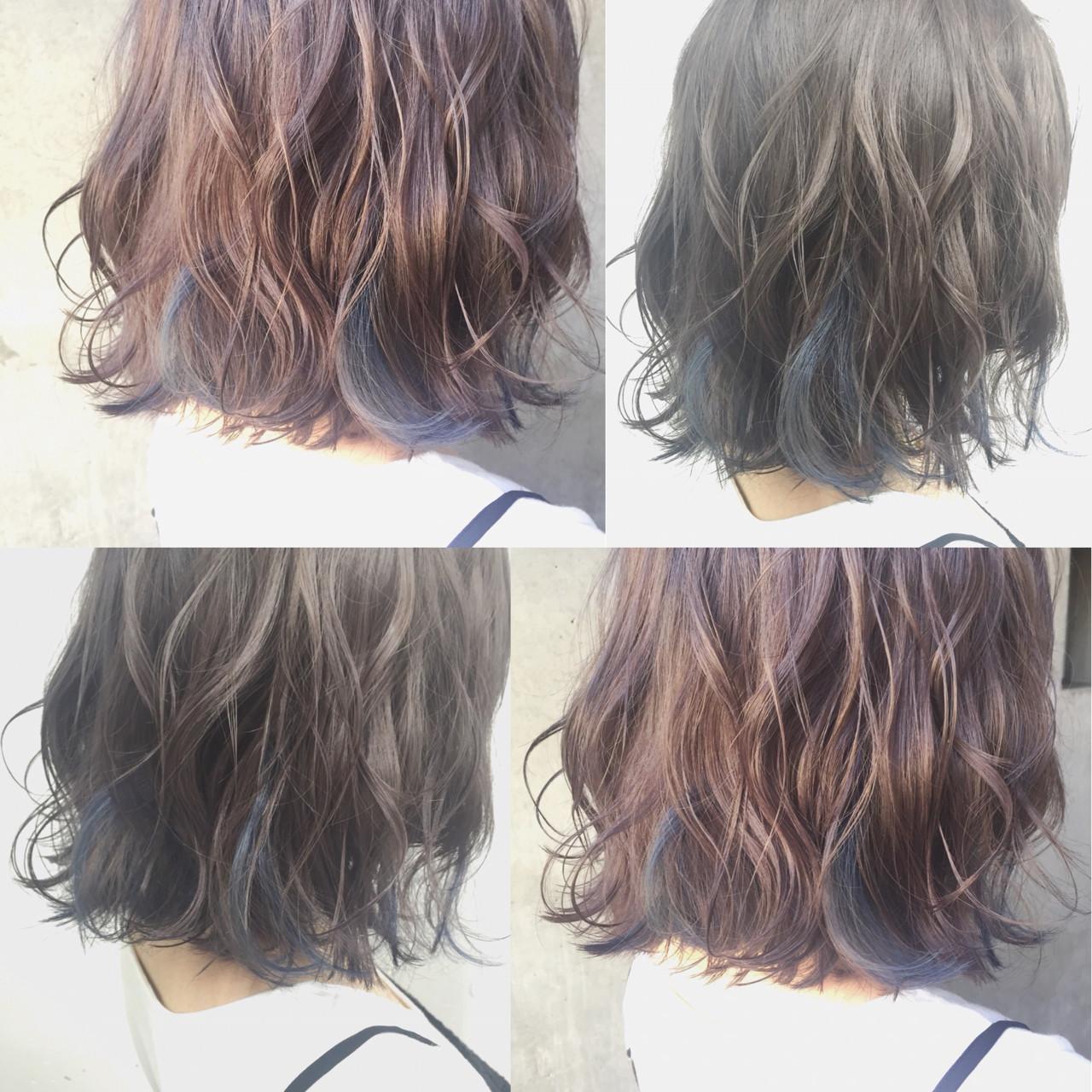暗髪 グラデーションカラー ストリート ミディアム ヘアスタイルや髪型の写真・画像 | MOTAI / Wille / Wille