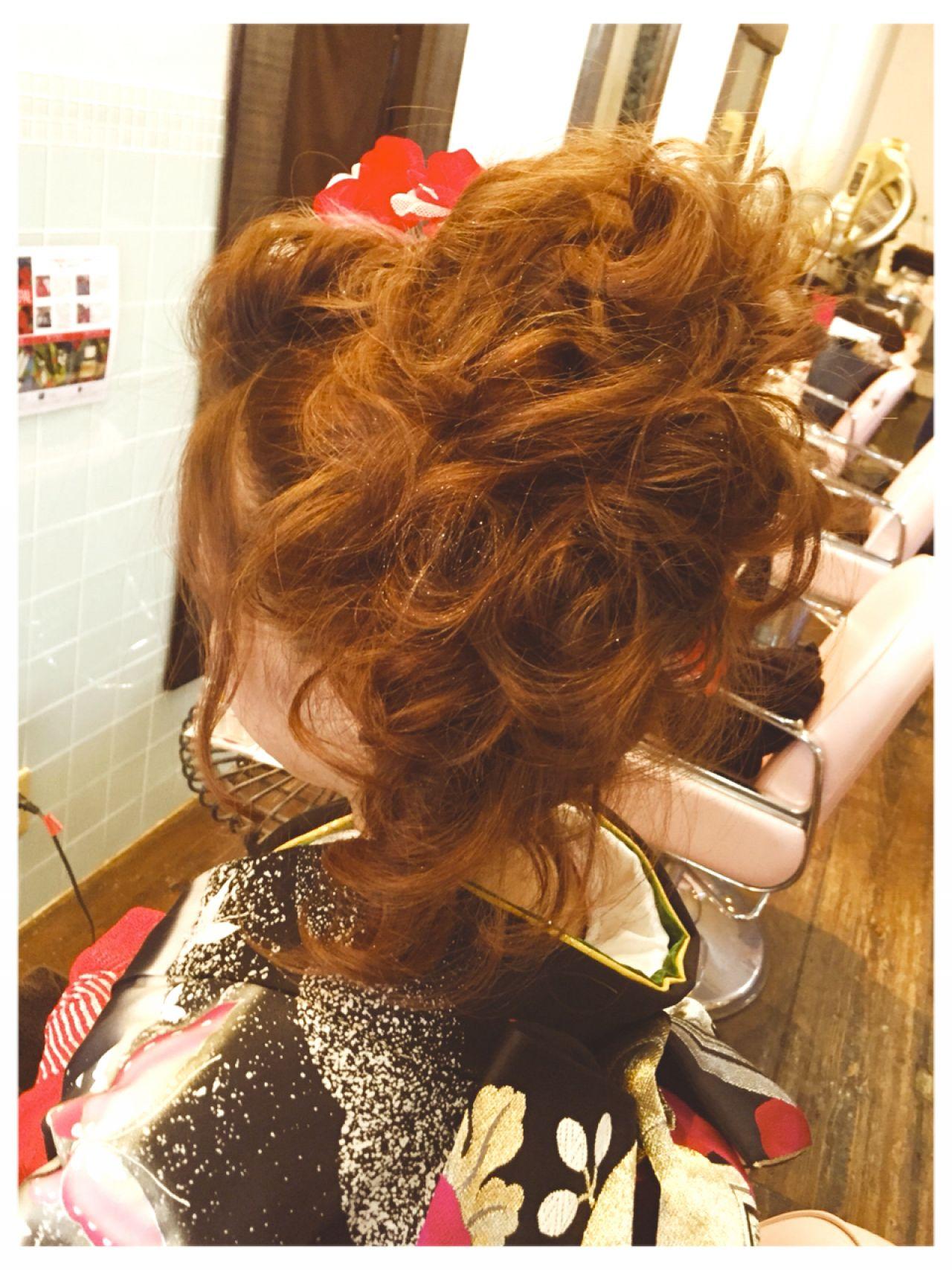 コンサバ 成人式 ヘアアレンジ 和装ヘアスタイルや髪型の写真・画像