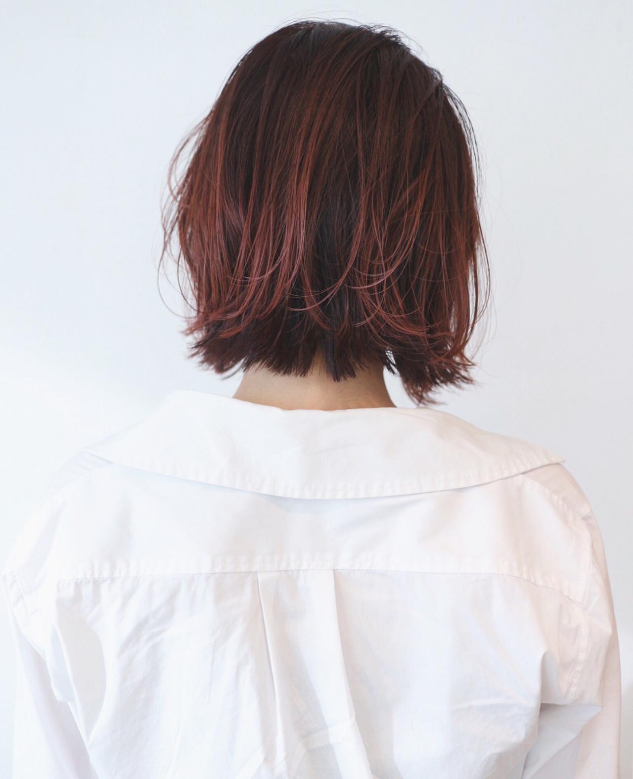 インナーカラー ボブ 切りっぱなしボブ ベリーピンク ヘアスタイルや髪型の写真・画像 | 三好 佳奈美 / Baco.(バコ)