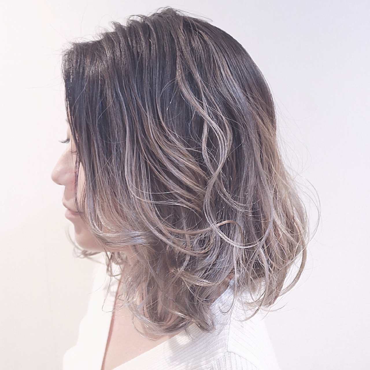 外国人風 ボブ グラデーションカラー バレイヤージュ ヘアスタイルや髪型の写真・画像 | RUMINA //高田ゆみこ / Rumina