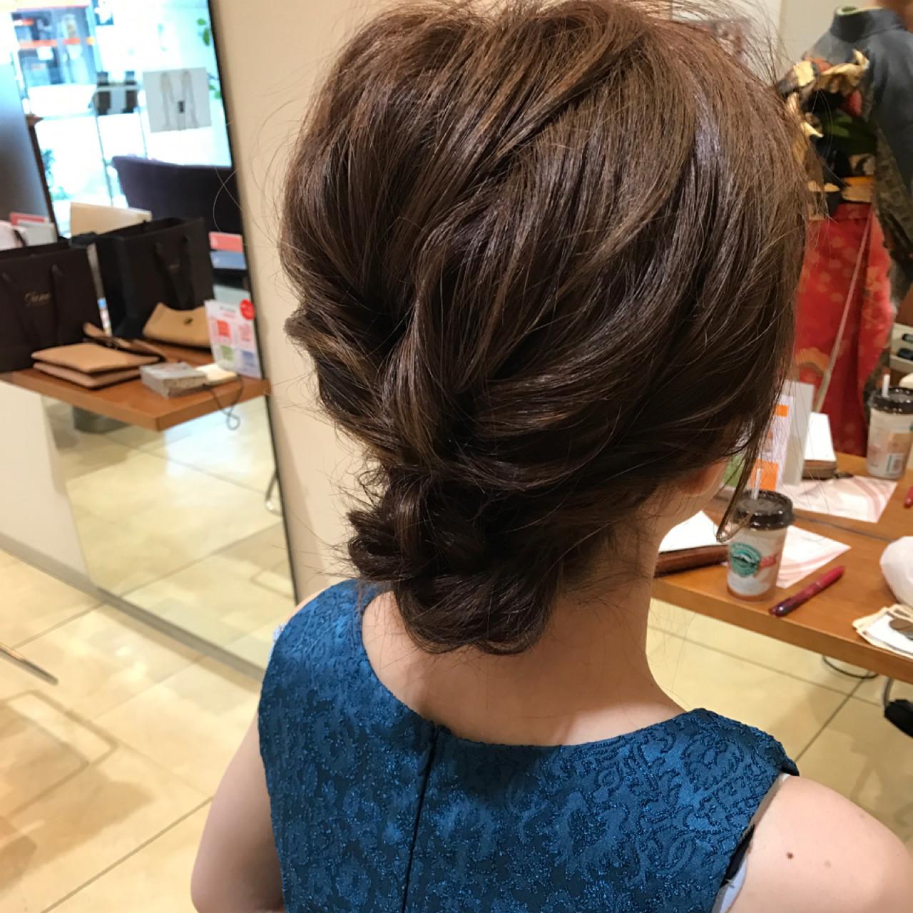 編み込み デート エレガント 上品ヘアスタイルや髪型の写真・画像
