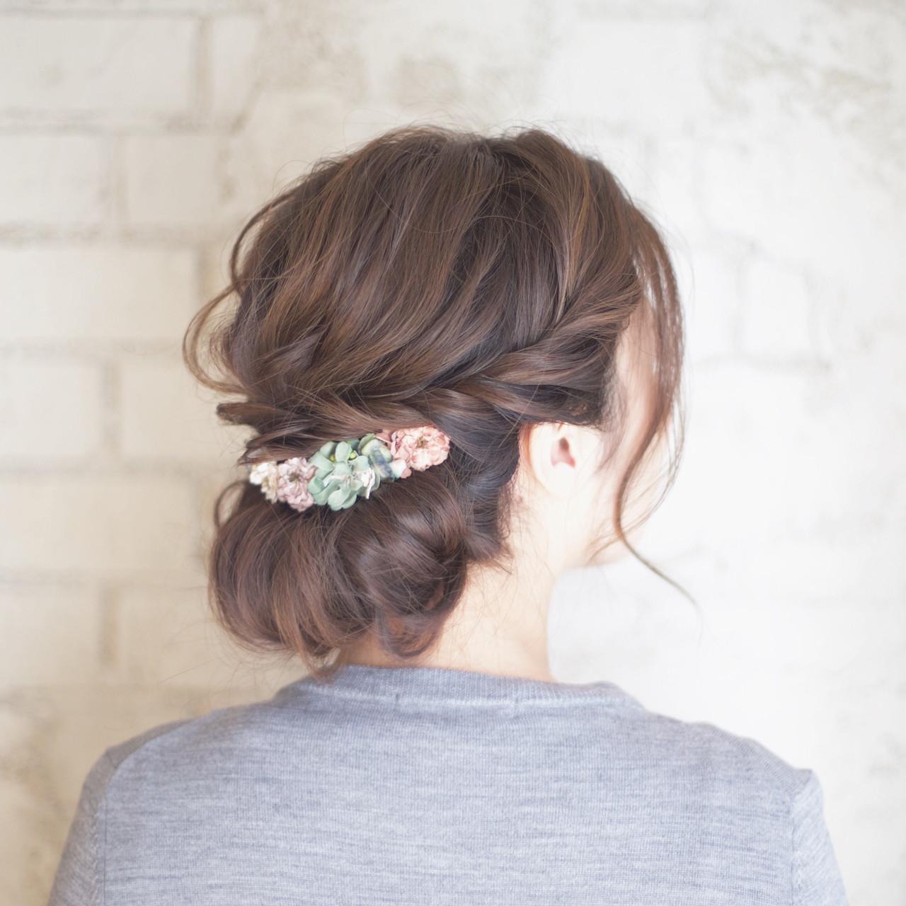 花嫁 結婚式 ヘアアレンジ セミロング ヘアスタイルや髪型の写真・画像 | 谷本将太 nalu hair / nalu hair  (ナルーヘアー)