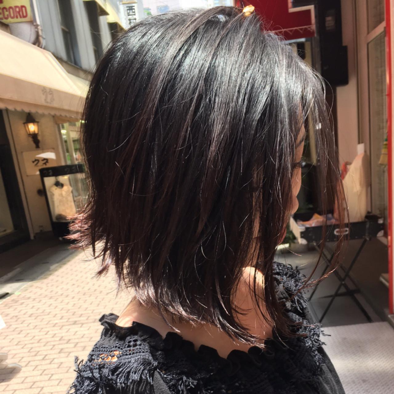 ストリート ヘアアレンジ ウェットヘア ボブヘアスタイルや髪型の写真・画像