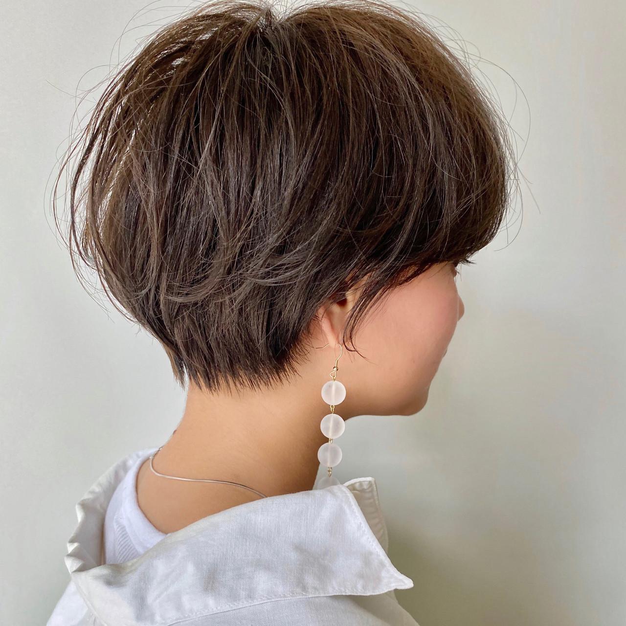 ショートヘア ショート ナチュラル 小顔ショートヘアスタイルや髪型の写真・画像