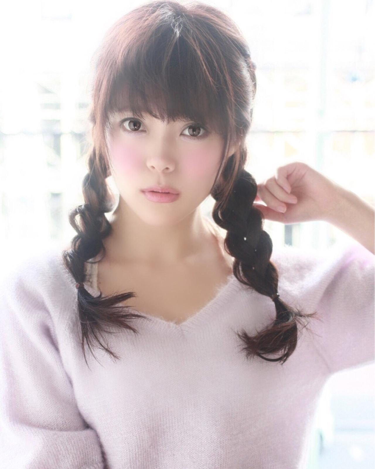 暗髪 モテ髪 愛され 三つ編みヘアスタイルや髪型の写真・画像