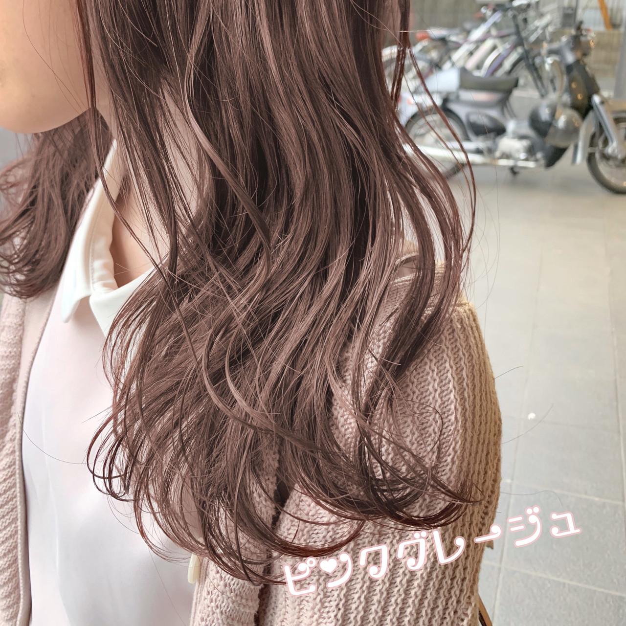 ピンク ミルクティーベージュ ガーリー ヘアアレンジヘアスタイルや髪型の写真・画像