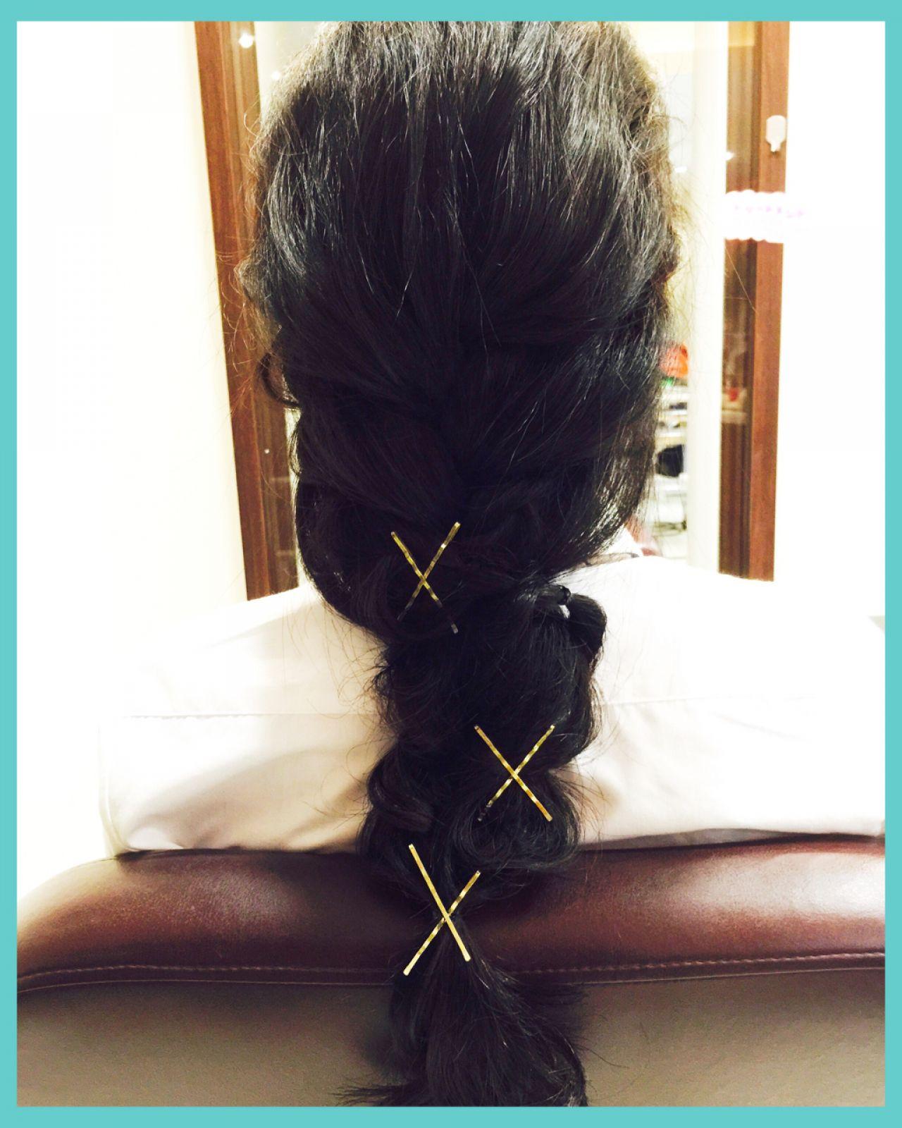 ヘアピン 簡単ヘアアレンジ ヘアアレンジ ヘアアクセ ヘアスタイルや髪型の写真・画像 | 栗山 卓也 / ヘアーサロンシェール
