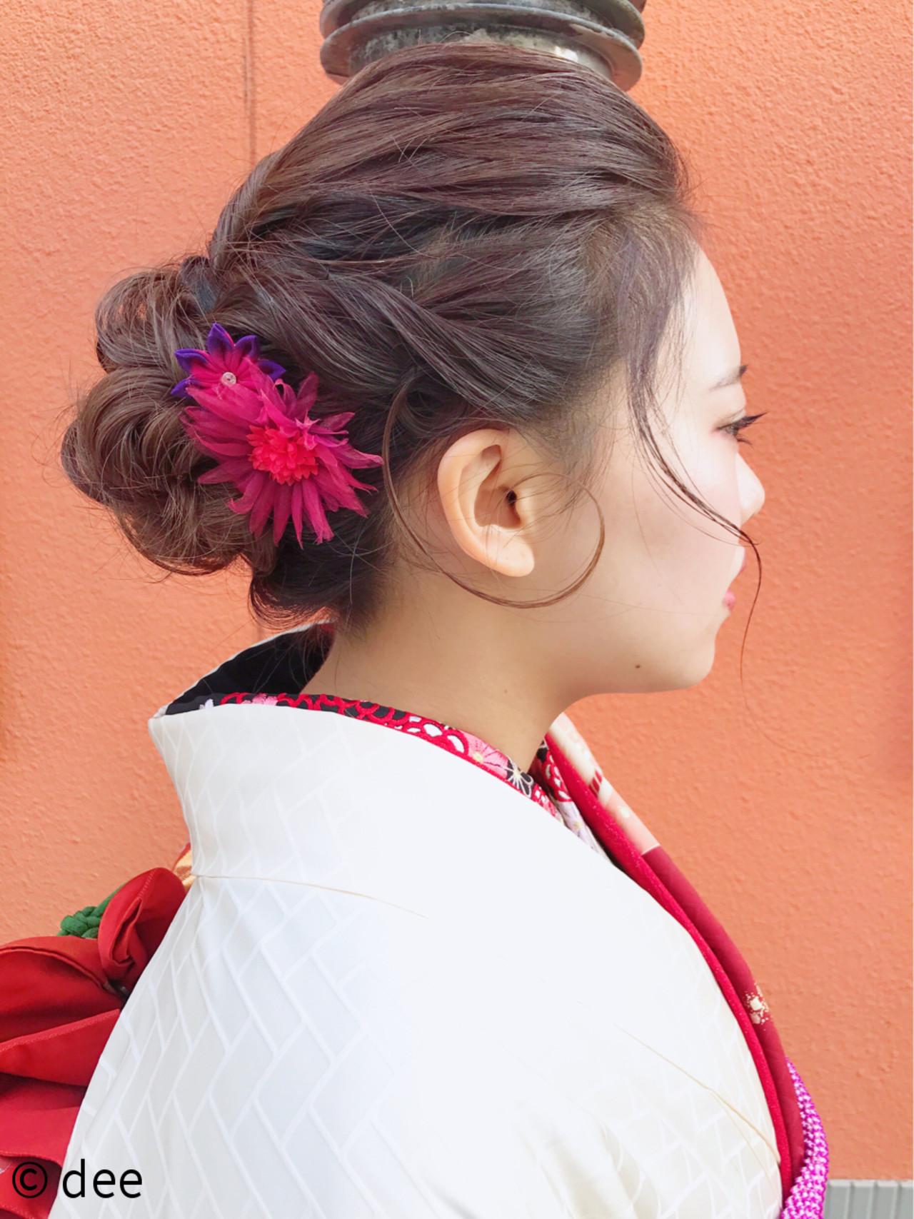 ナチュラル ヘアアレンジ 成人式ヘア 和装 ヘアスタイルや髪型の写真・画像   dee / dee