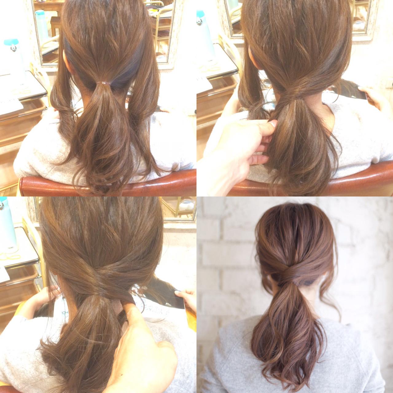 ヘアアレンジ 大人かわいい セミロング 簡単ヘアアレンジヘアスタイルや髪型の写真・画像