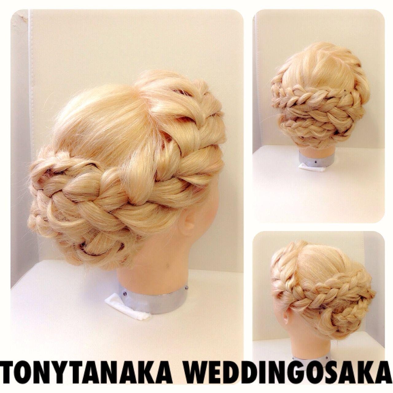 ヘアアレンジ コンサバ 編み込み 結婚式 ヘアスタイルや髪型の写真・画像   TonyTanaka WeddingOsaka / トニータナカウエディング大阪