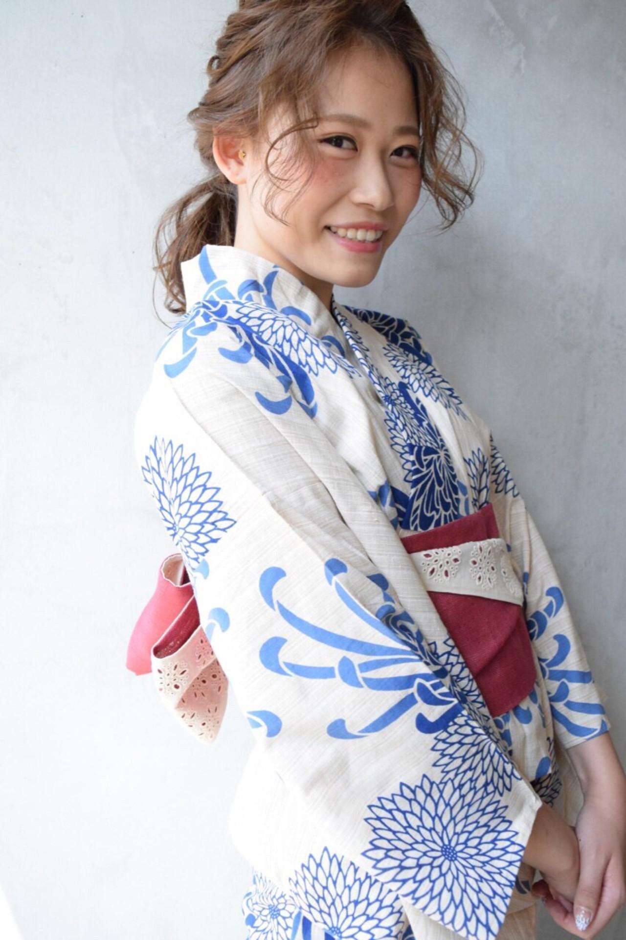 夏 お祭り ナチュラル セミロング ヘアスタイルや髪型の写真・画像 | 野村 麻美 /