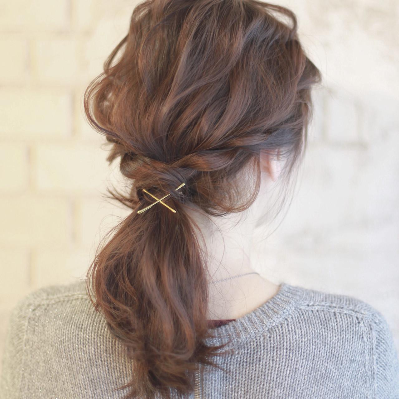 フェミニン グラデーションカラー ゆるふわ 簡単ヘアアレンジヘアスタイルや髪型の写真・画像