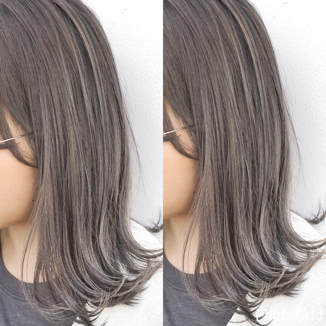 ミディアム ナチュラル 色気 斜め前髪 ヘアスタイルや髪型の写真・画像 | 長谷川 龍太 / hair design tea