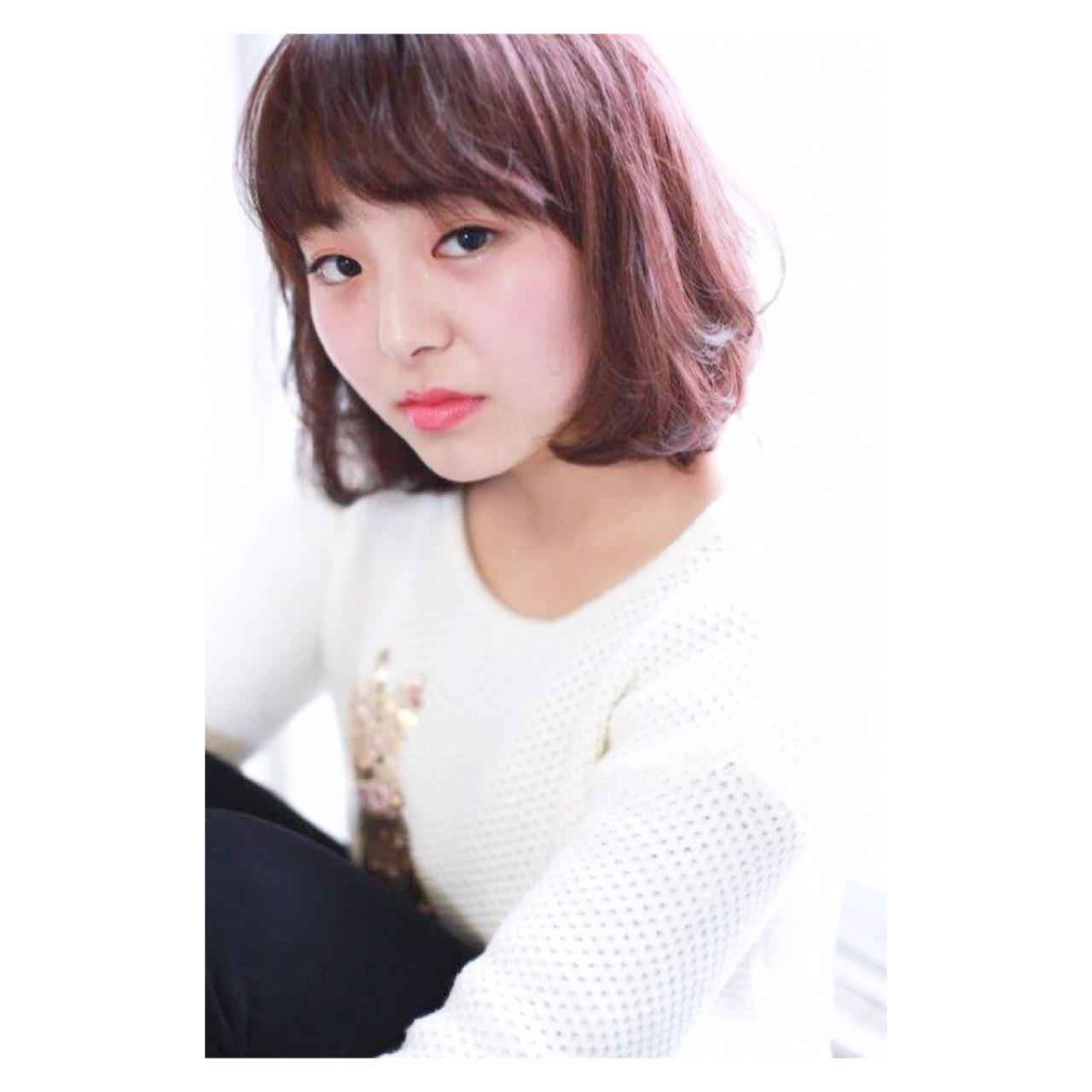 ベリーピンク ボブ ピンク ニュアンス ヘアスタイルや髪型の写真・画像   Yumi Hiramatsu / Sourire Imaizumi【スーリール イマイズミ】
