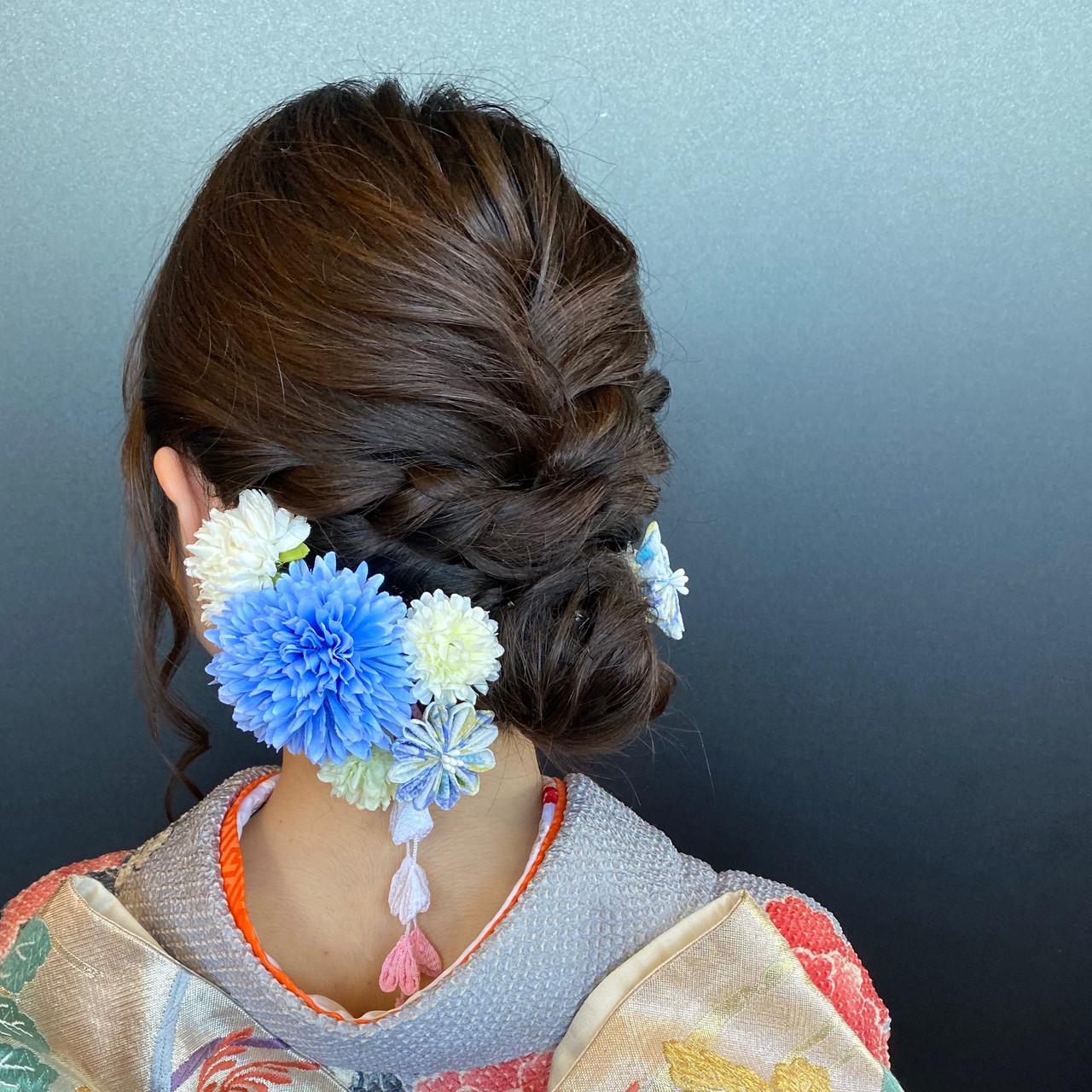 成人式ヘア 和装 セミロング 編み込み ヘアスタイルや髪型の写真・画像