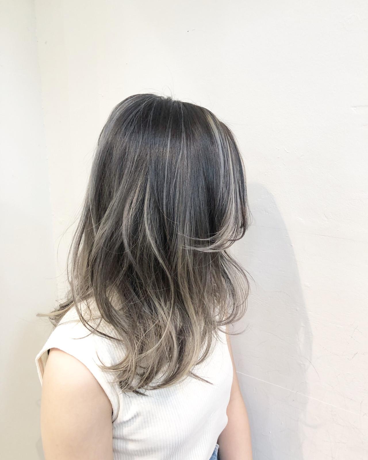 ナチュラル ハイライト バレイヤージュ ミディアム ヘアスタイルや髪型の写真・画像   RUMINA //高田ゆみこ / Rumina