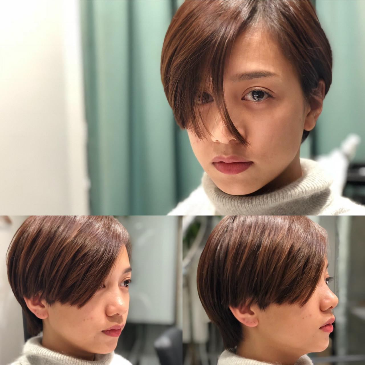 簡単スタイリング 外国人風 ナチュラル 小顔ショートヘアスタイルや髪型の写真・画像