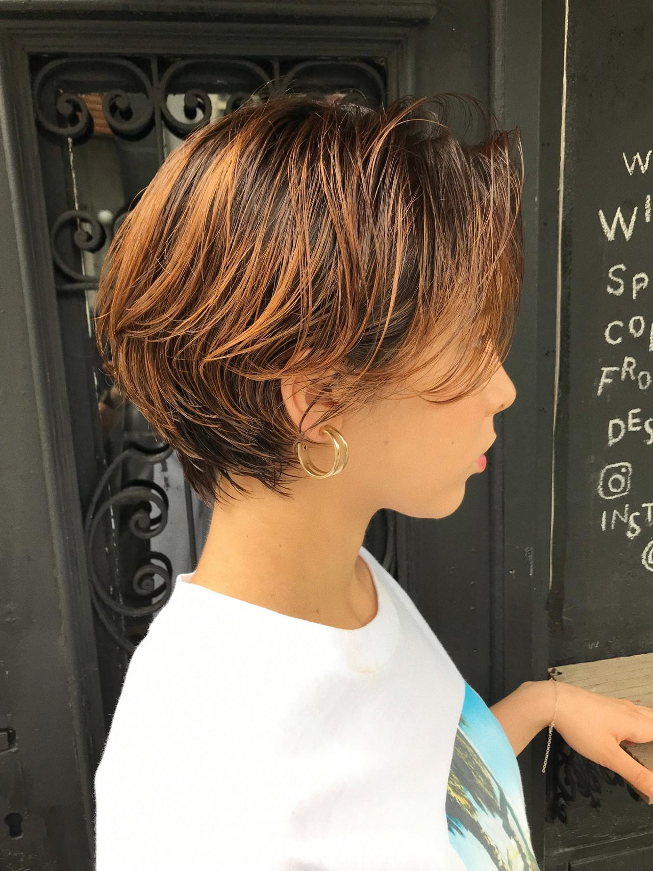 ショート オレンジ ハイトーン 抜け感 ヘアスタイルや髪型の写真・画像 | 小西敬二郎 / Heartim