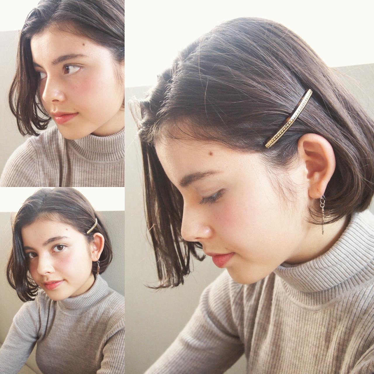 ボブ 外国人風 暗髪 前下がり ヘアスタイルや髪型の写真・画像   UEKI/nanuk / nanuk二子玉川