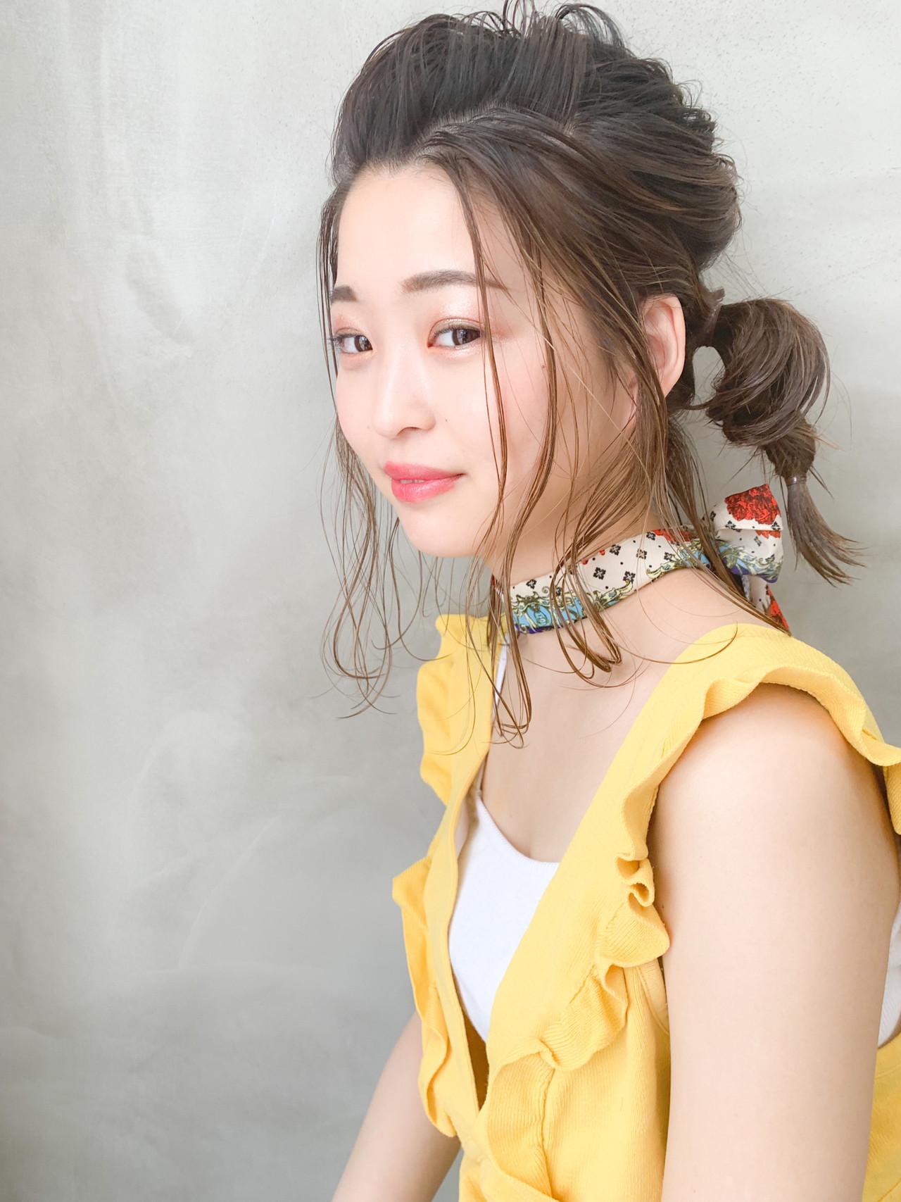 くるりんぱ ナチュラル デート ヘアアレンジ ヘアスタイルや髪型の写真・画像 | 細川モエ / SUN