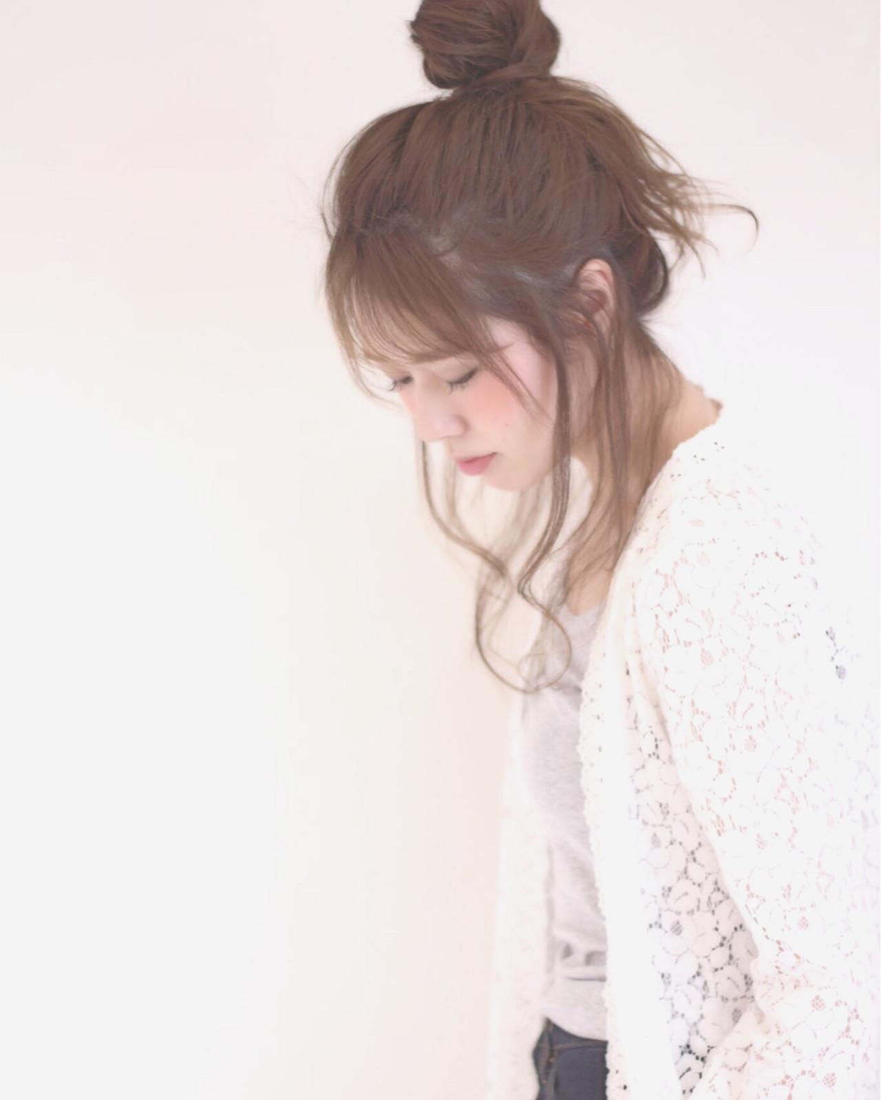 ゆるふわ ヘアアレンジ お団子 ショート ヘアスタイルや髪型の写真・画像 | 桐谷 芽依 /