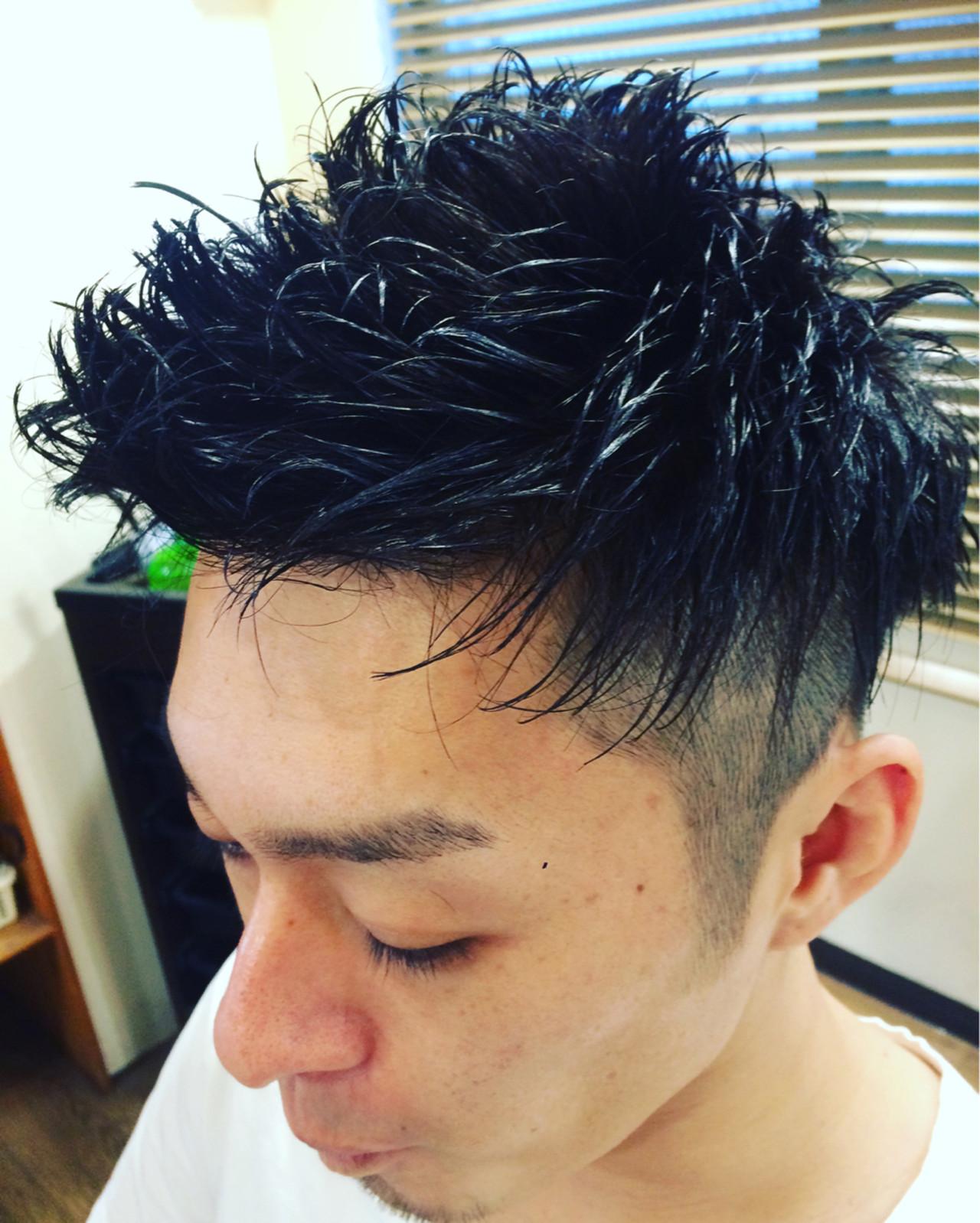 メンズ 坊主 黒髪 パーマ ヘアスタイルや髪型の写真・画像 | 鈴木祐太 / BLITZ R-EVOLUT