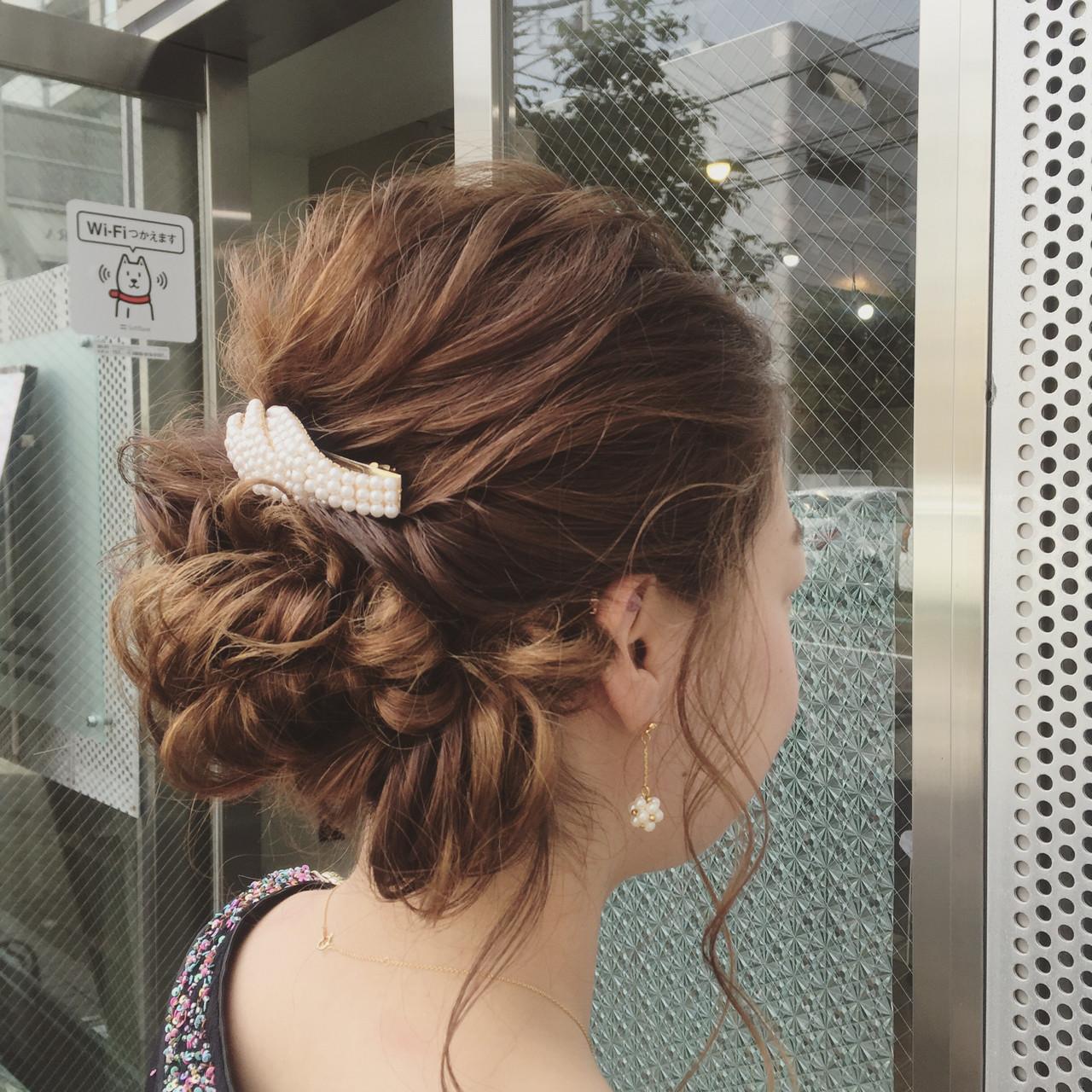 くるりんぱ ヘアアレンジ 簡単ヘアアレンジ 編み込みヘアスタイルや髪型の写真・画像