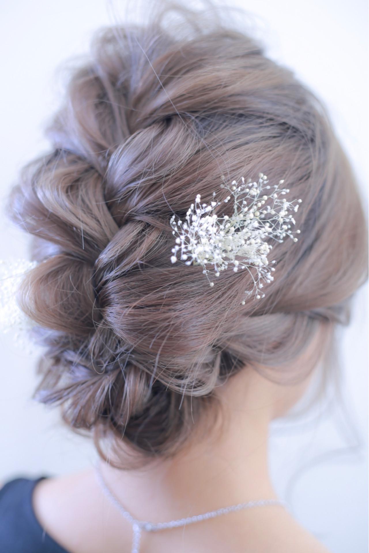 編み込み 結婚式 セミロング ヘアアレンジ ヘアスタイルや髪型の写真・画像 | 伊藤 裕貴 / LOAOL上小田井店