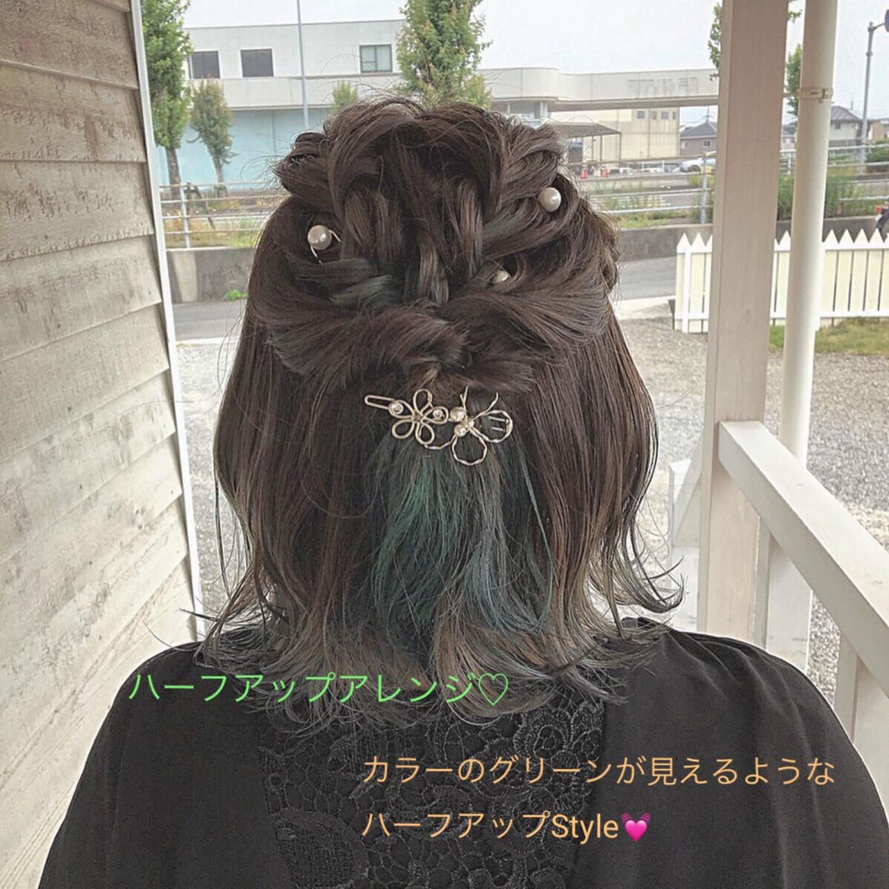 デート 簡単ヘアアレンジ フェミニン グリーン ヘアスタイルや髪型の写真・画像 | MOMOKO / HairworksZEAL