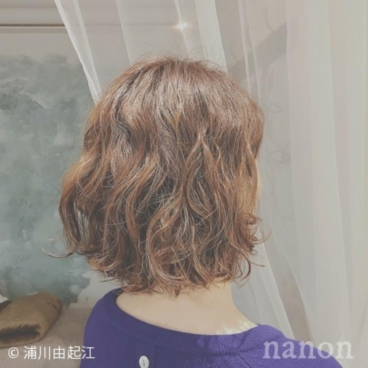 ゆるふわ ガーリー ボブ パーマヘアスタイルや髪型の写真・画像