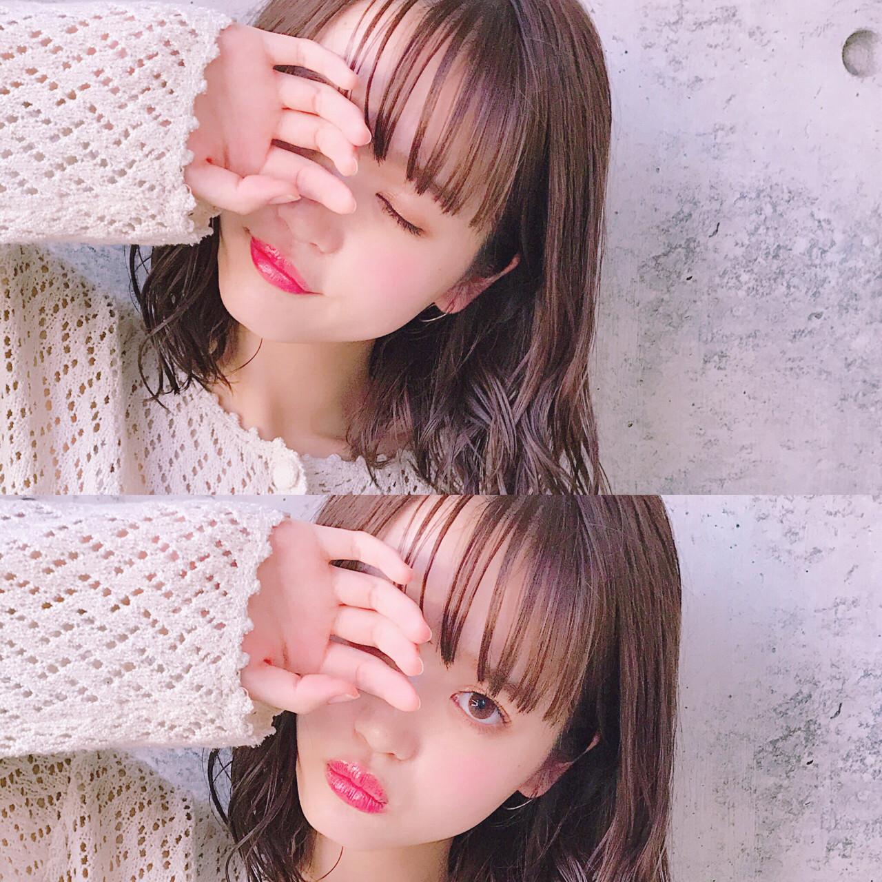 前髪パッツン パーマ ミディアム フェミニン ヘアスタイルや髪型の写真・画像 | Wataru Maeda / cache cache