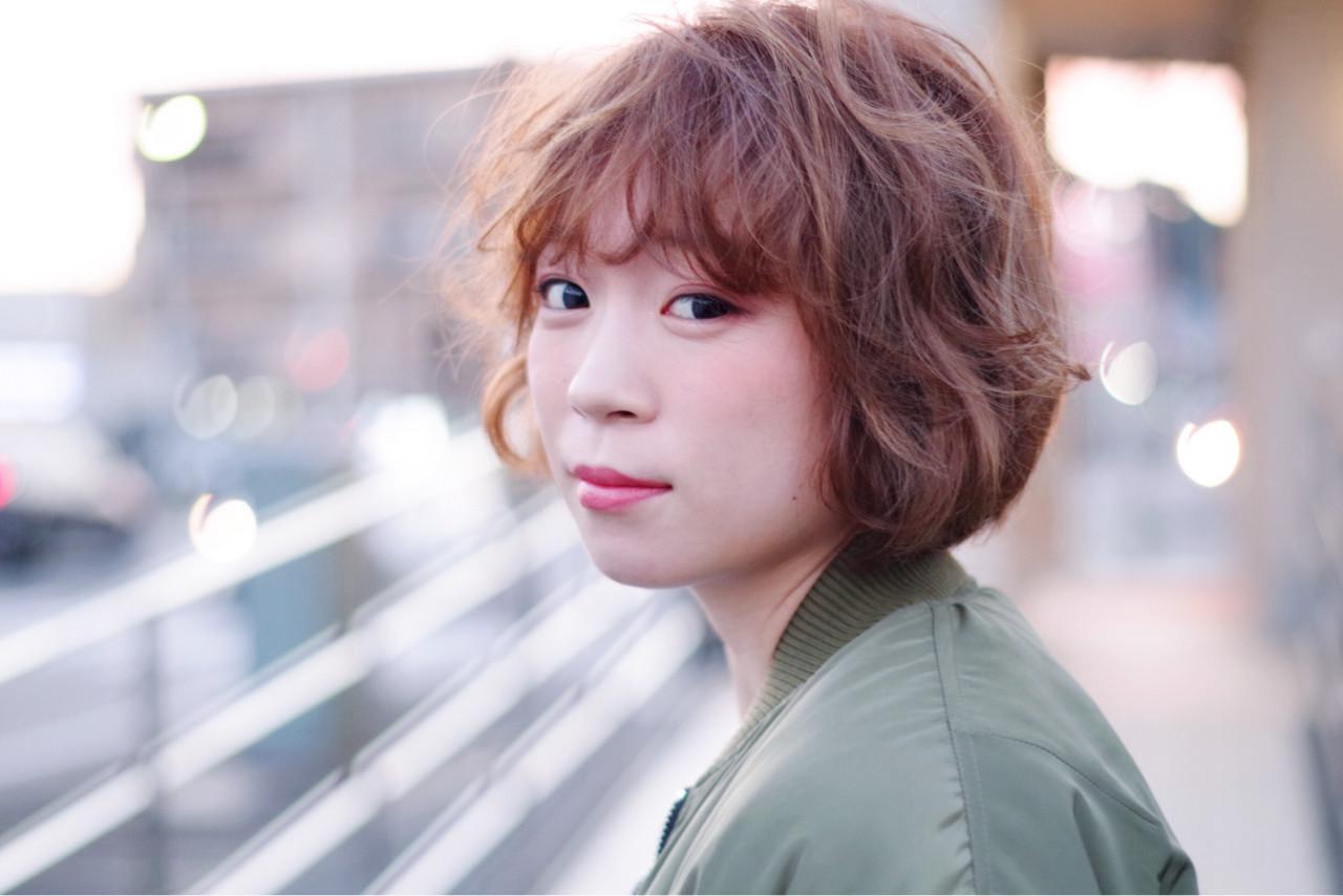 ゆるふわ ショート パーマ ハイライト ヘアスタイルや髪型の写真・画像 | 大越 勇嗣 / VISAGE Oak