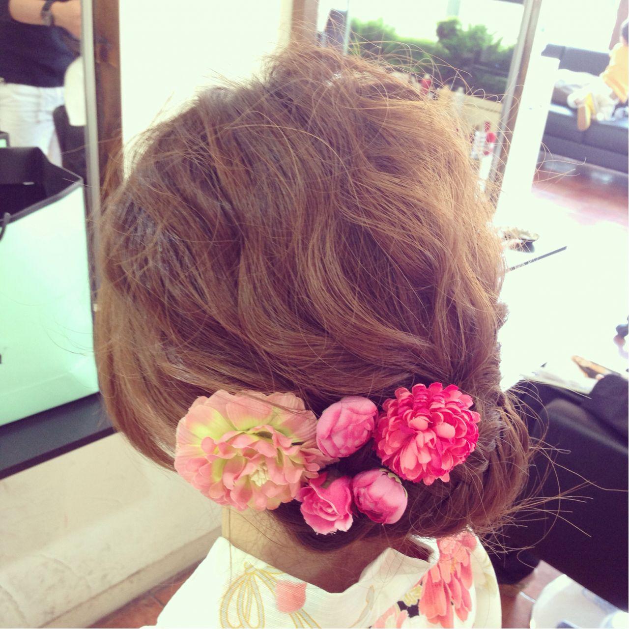 夏 波ウェーブ お祭り ヘアアレンジ ヘアスタイルや髪型の写真・画像 | 和田 早代 / Diversion